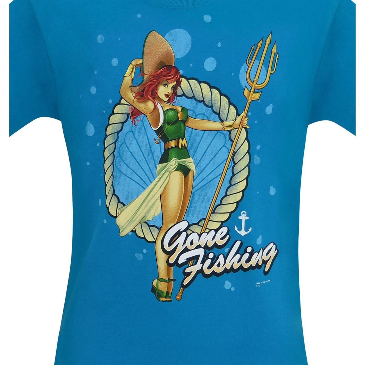 Mera DC Bombshells Gone Fishing Men's T-Shirt