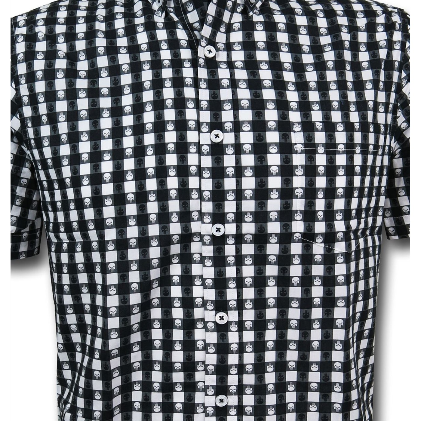 Punisher Plaid Symbol Men's Fitted Button Down Shirt