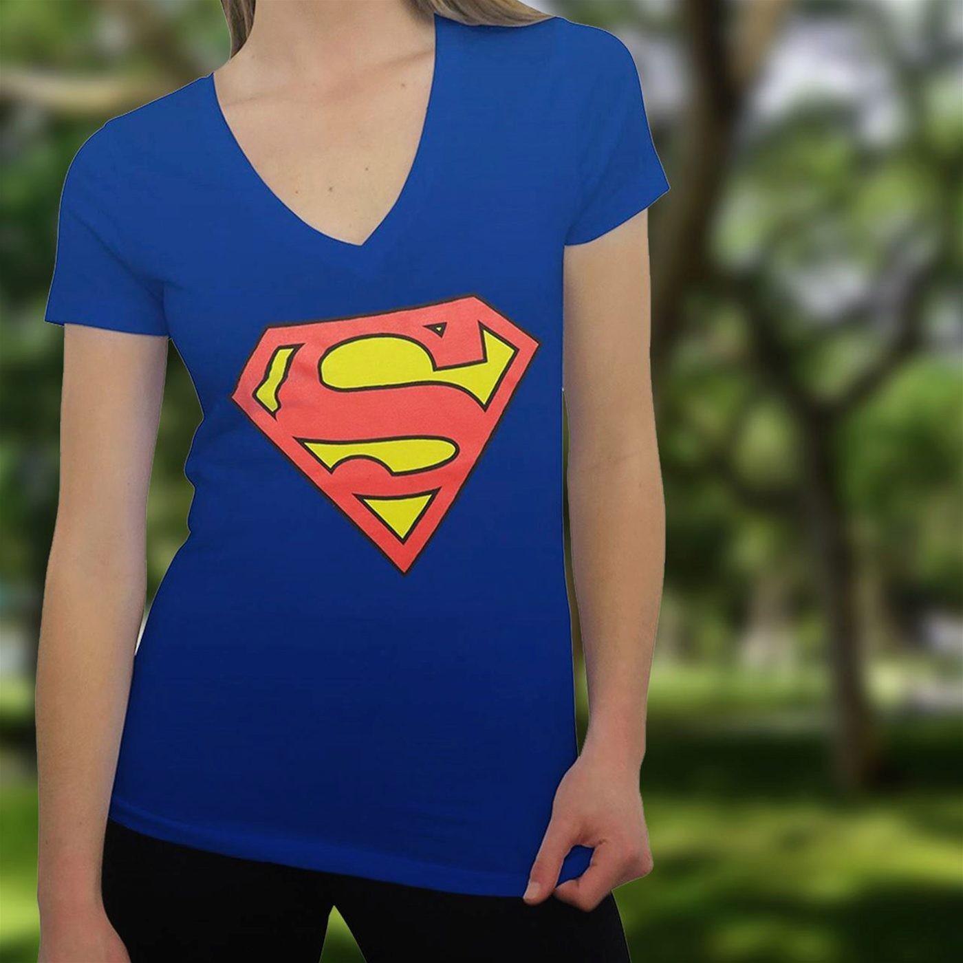 Superman Symbol on Royal Women's V-Neck