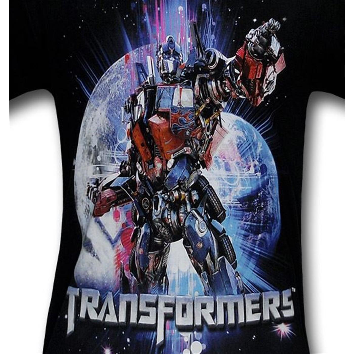 Optimus Prime Earth Moon Kids T-Shirt