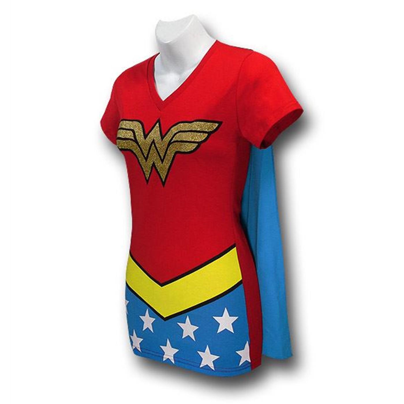 Wonder Woman Women's V-Neck Caped Costume T-Shirt