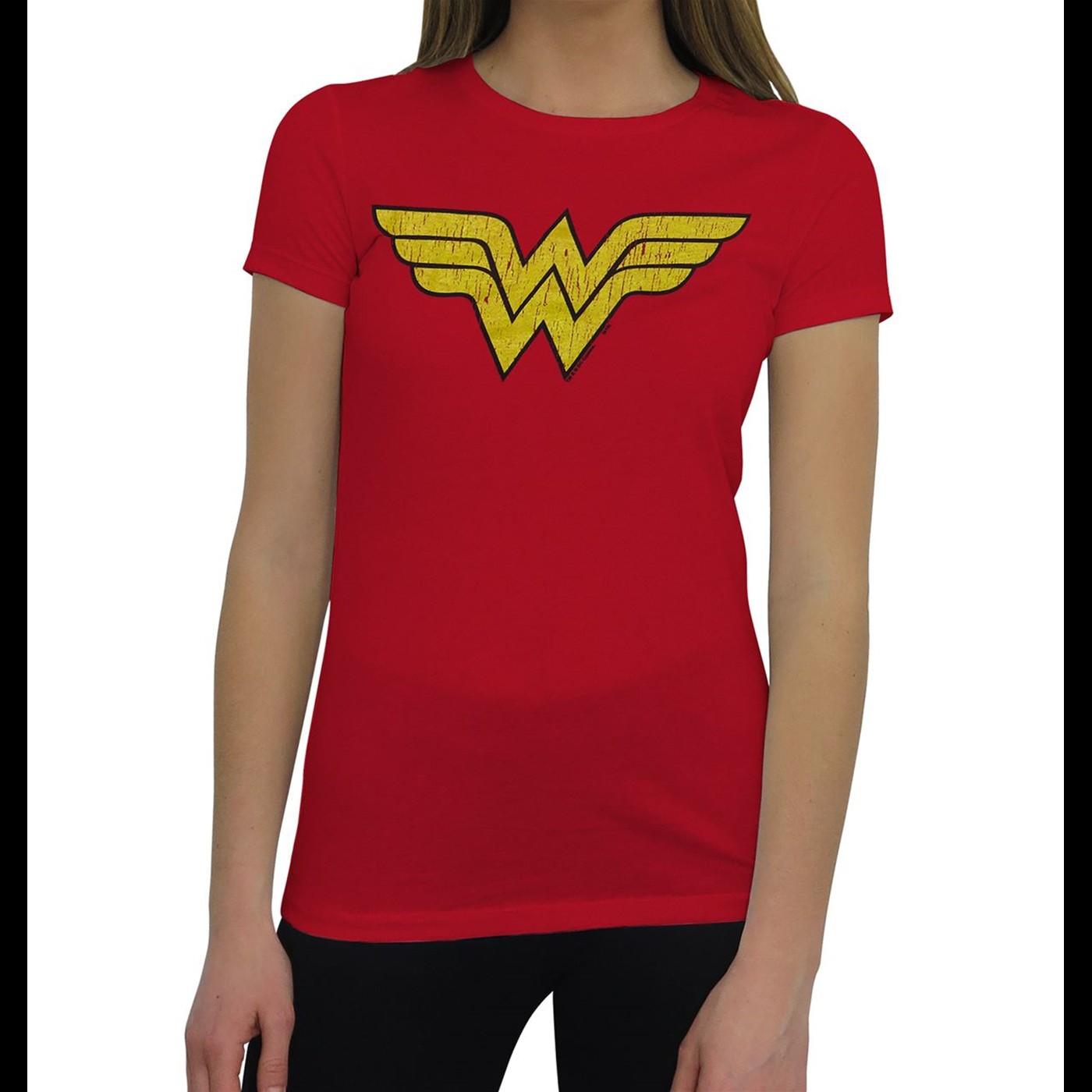 Best Wonder Woman Distressed Symbol T-Shirt for Women
