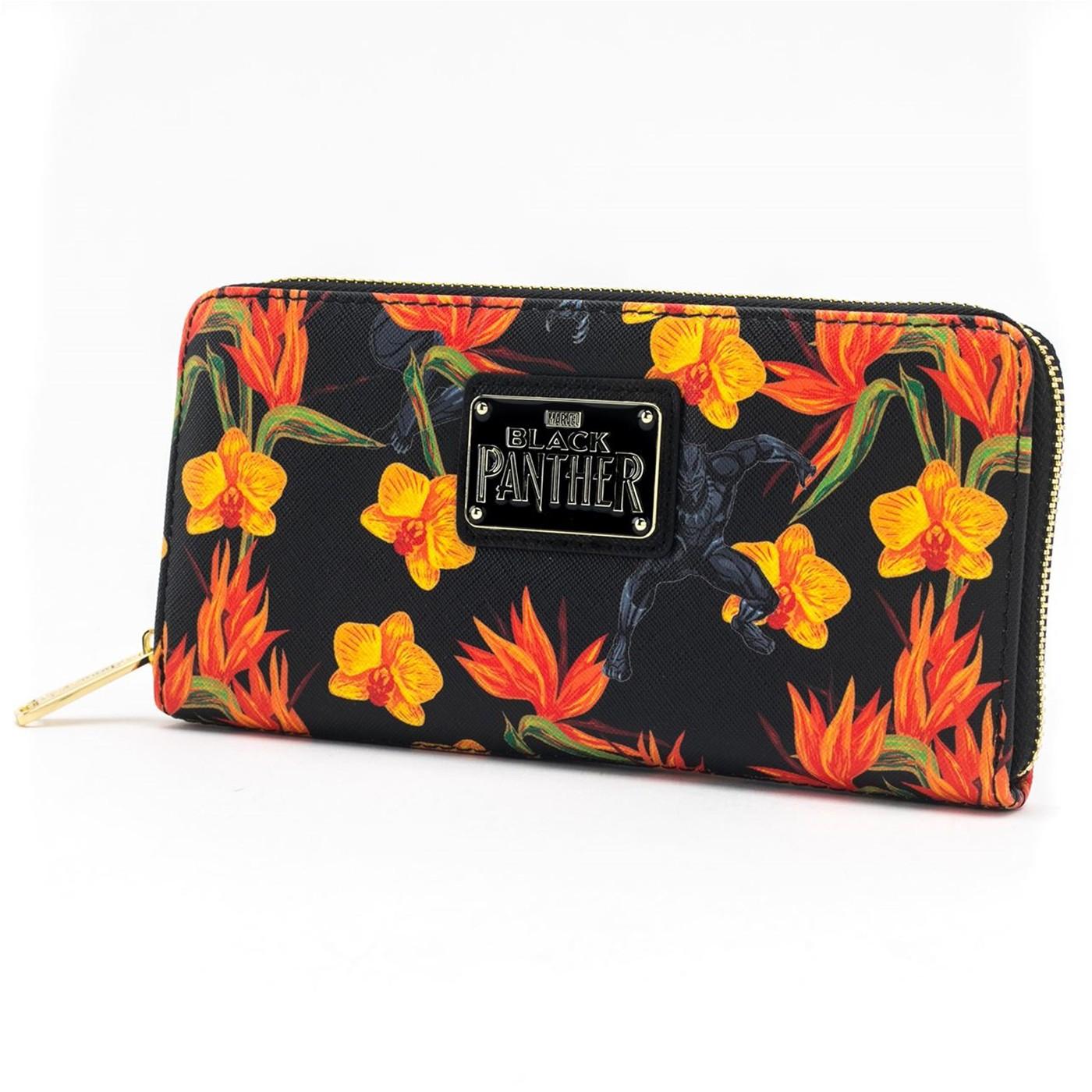 Black Panther Floral Zip Around Wallet