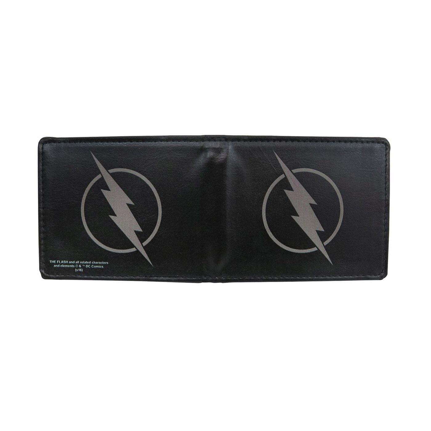 Flash Zoom Symbol Men's Black Bi-Fold Wallet