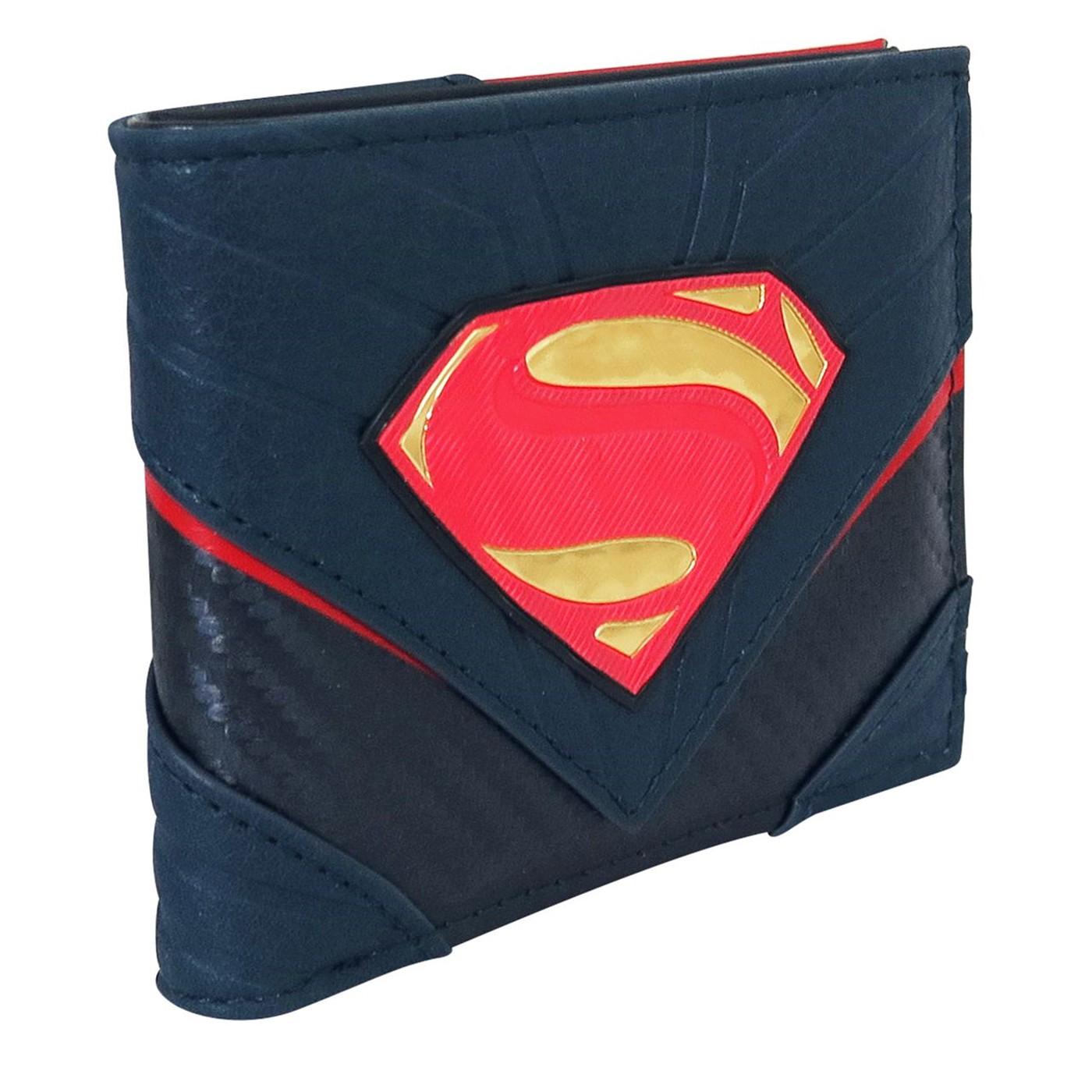 Superman Logo Carbon Fiber Men's Bi-Fold Wallet