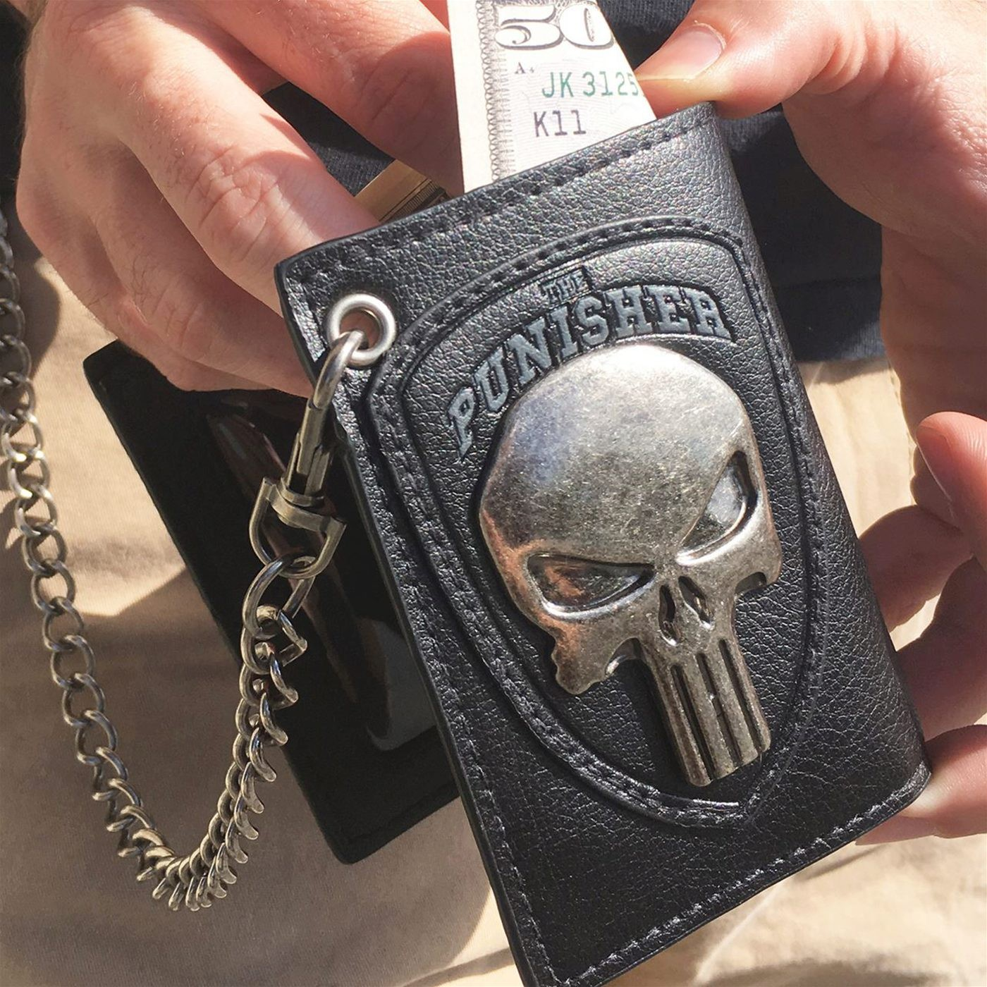 Punisher Metal Skull Chain Wallet