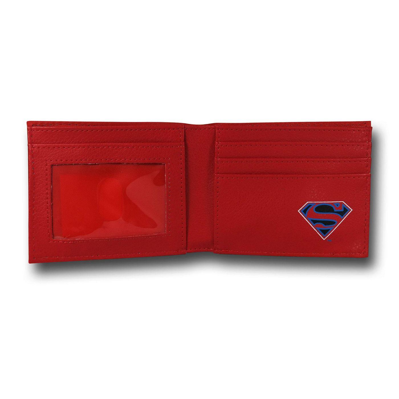 Superman Big Image Bi-Fold Red Wallet