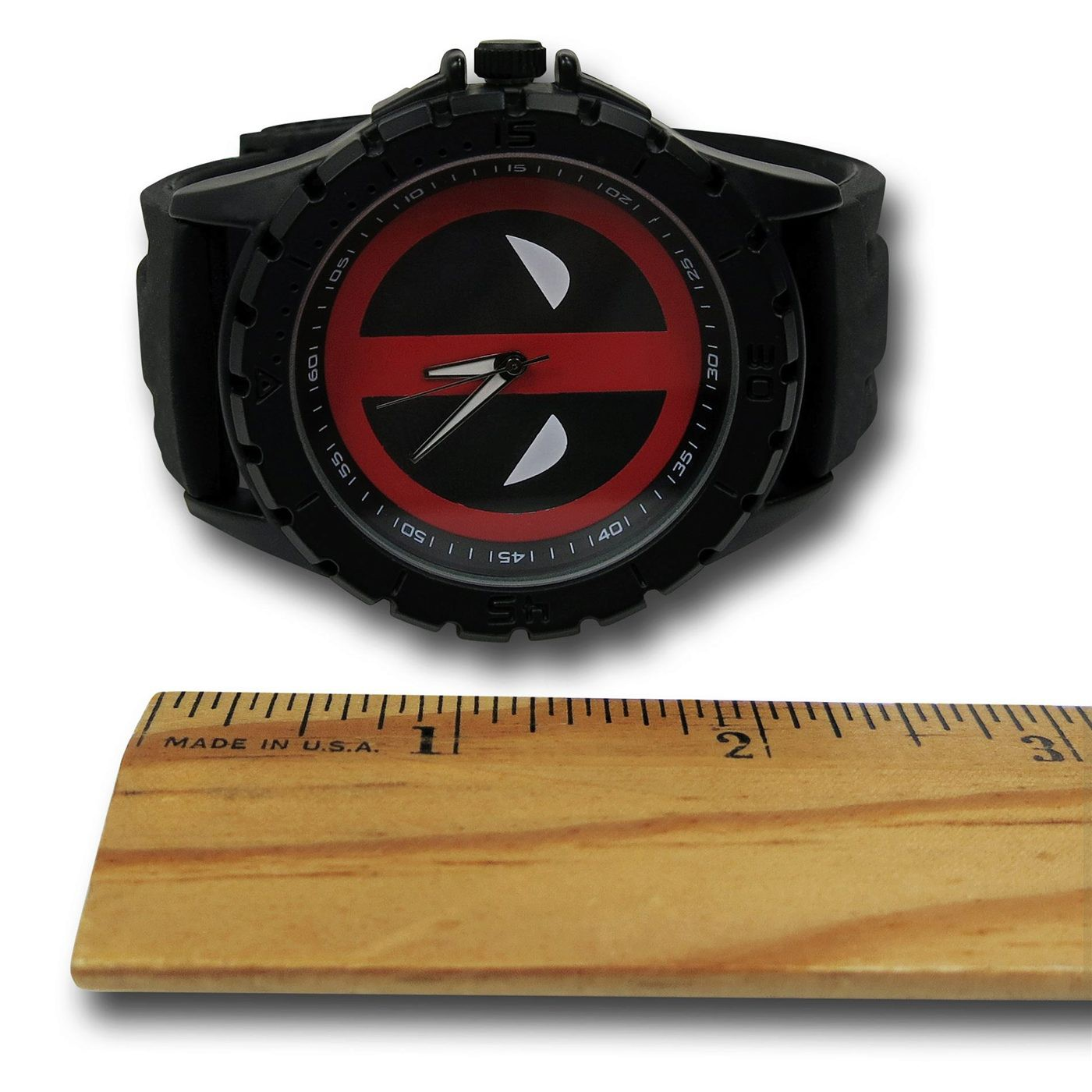Deadpool Symbol Watch with Striped Silicone Band