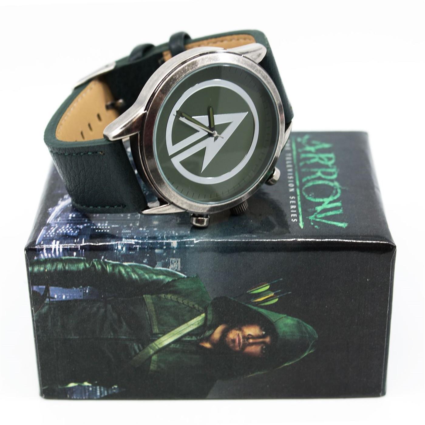 Green Arrow Symbol Watch with Adjustable Strap