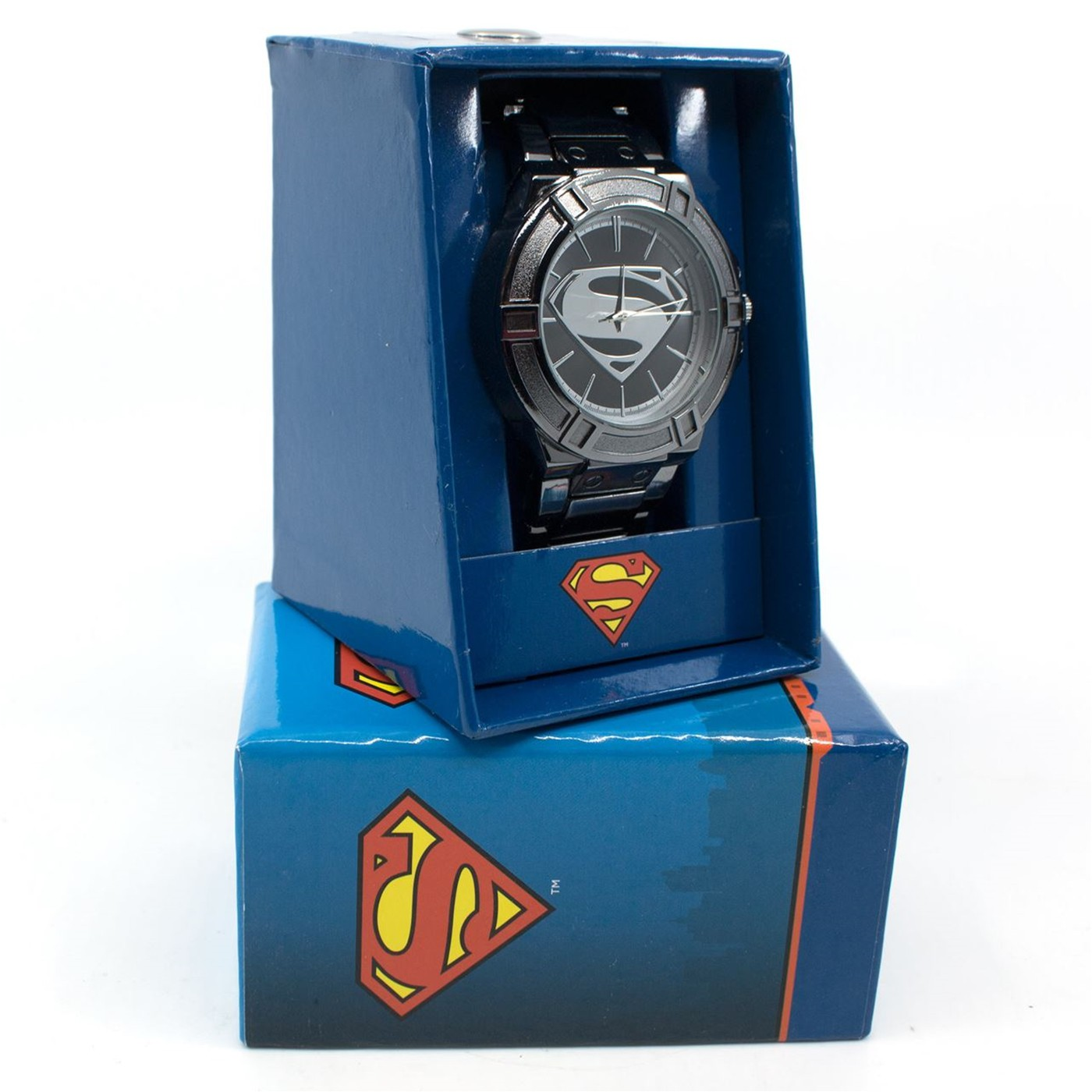 Superman Black Suit Costume Watch with Metal Band