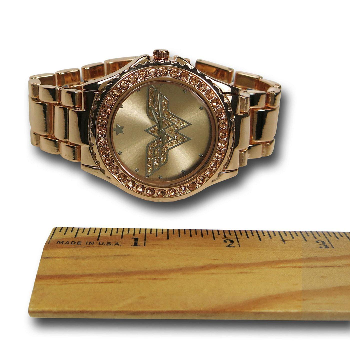 Wonder Woman Symbol Rose Gold Watch with Metal Band