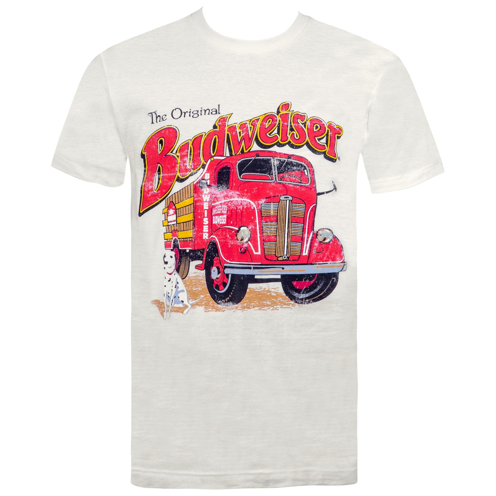 Budweiser Vintage Firetruck Off-White Tee Shirt