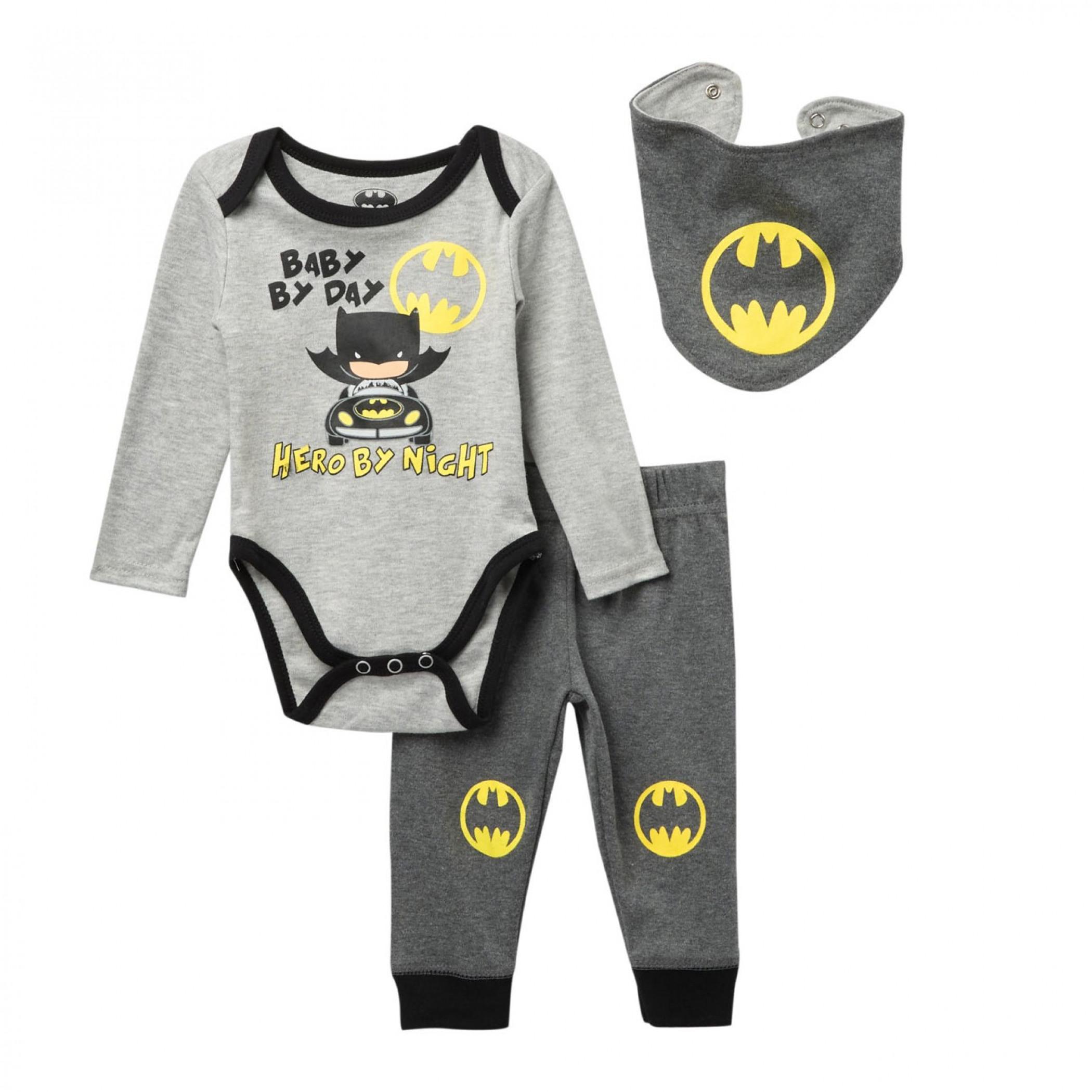 Batman Hero By Night Infant Snap Suit 3-Piece Set