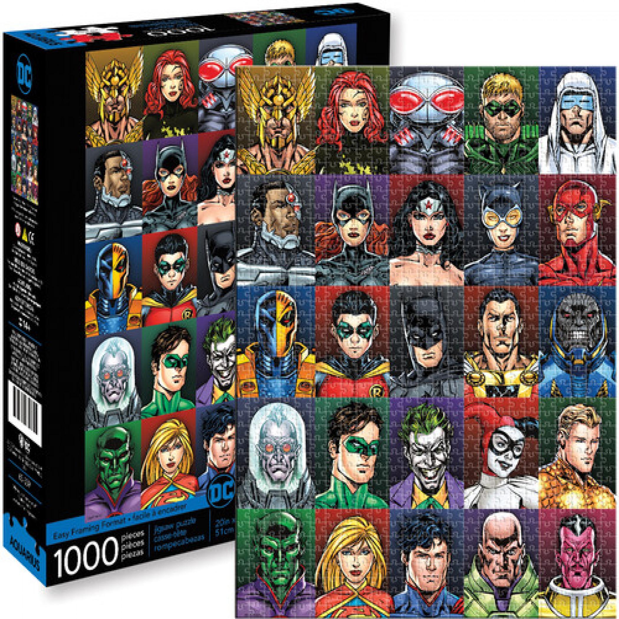 DC Heros and Villains Faces 1000 Piece Puzzle