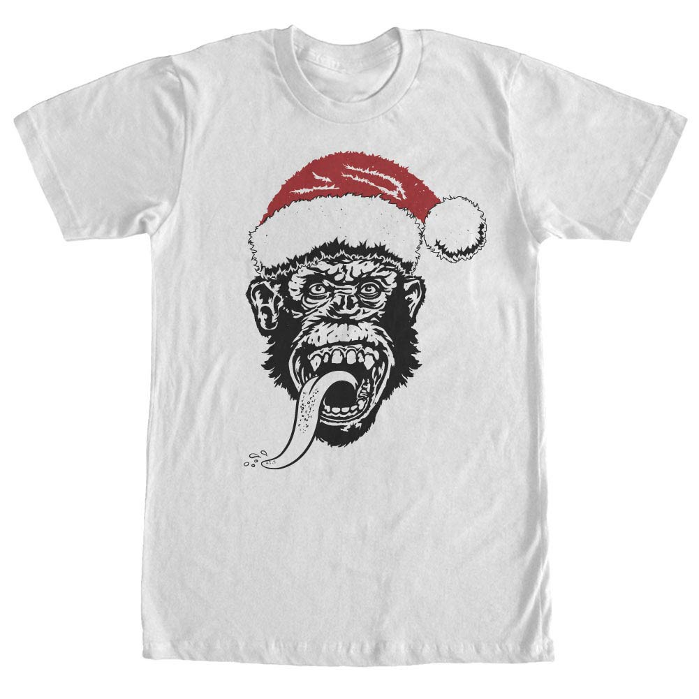 Gas Monkey Garage Santa Monkey Red Hat White T-Shirt