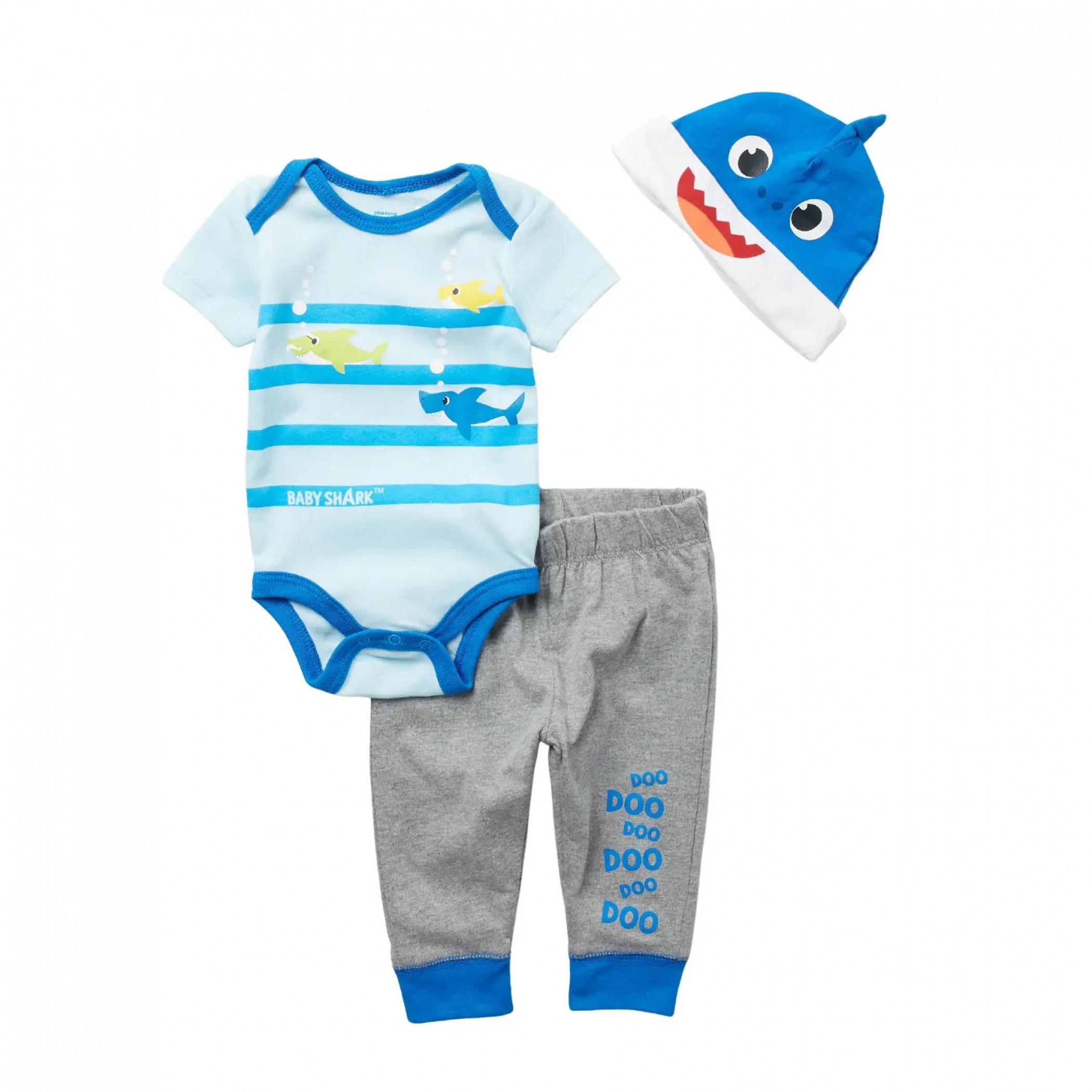 Baby Shark 3 Piece Bodysuit Set With Cap