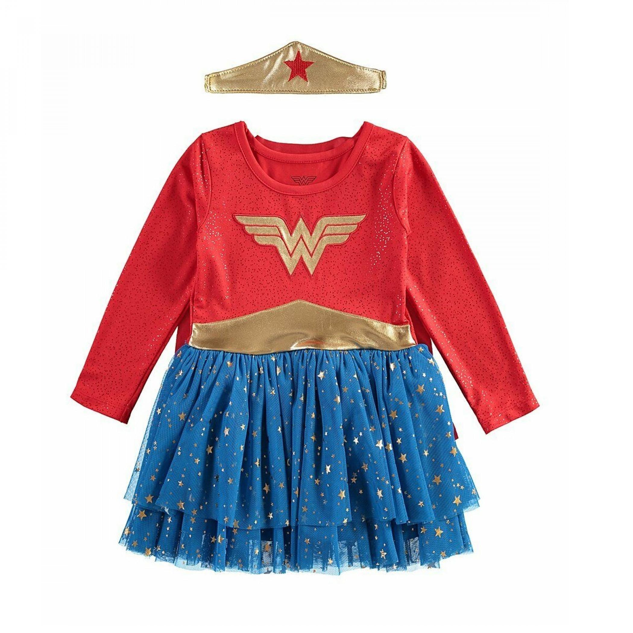Wonder Woman Dress Up Dress with Cape and Tiara Headband