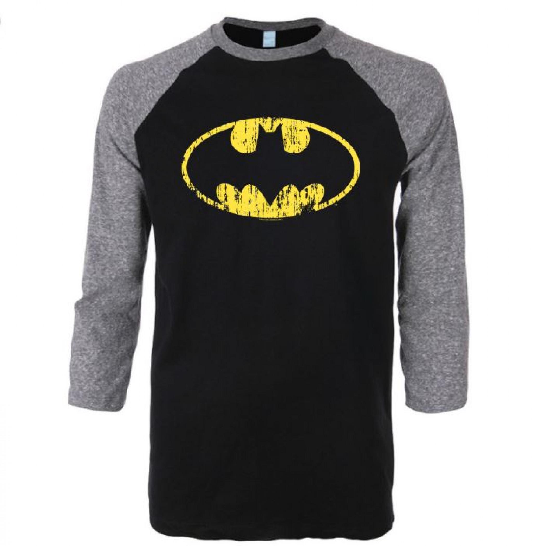Batman Traditional Symbol 3/4 Sleeve Raglan Baseball T-Shirt