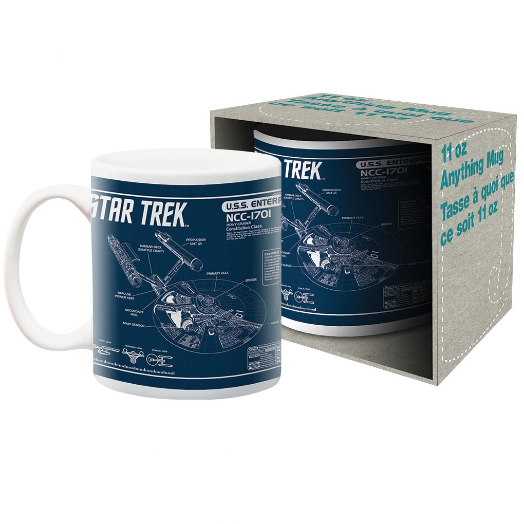 Star Trek U.S.S. Enterprise Blueprint Ceramic Mug