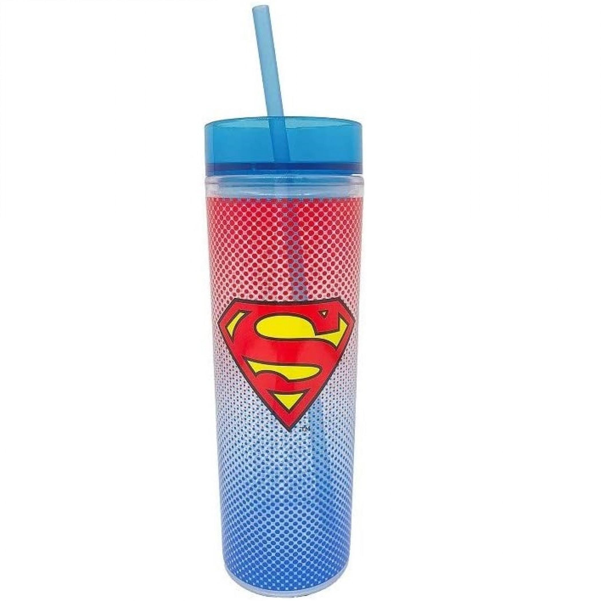 Superman Symbol Travel Mug with Straw