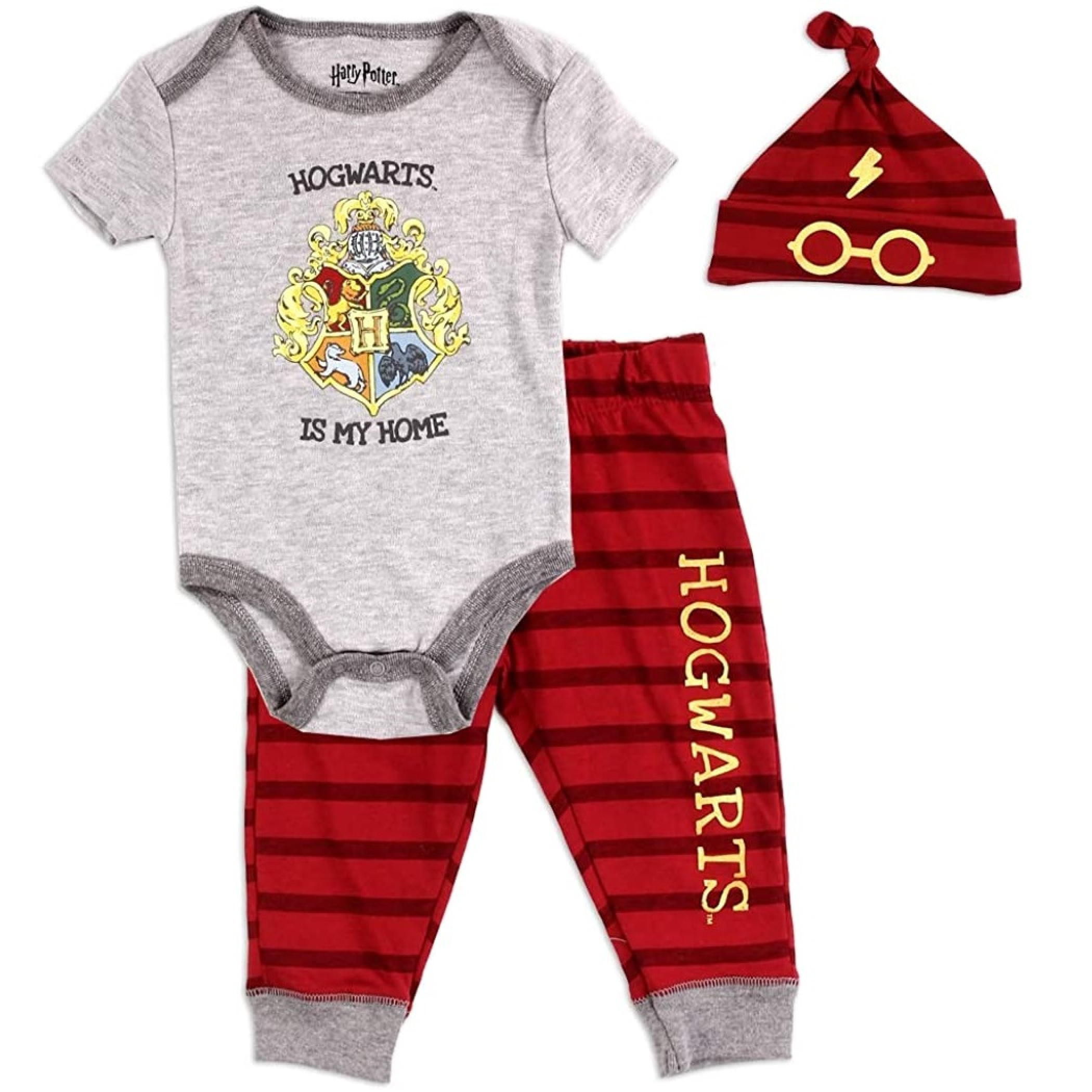 Harry Potter Hogwarts 3 Piece Bodysuit Set With Cap