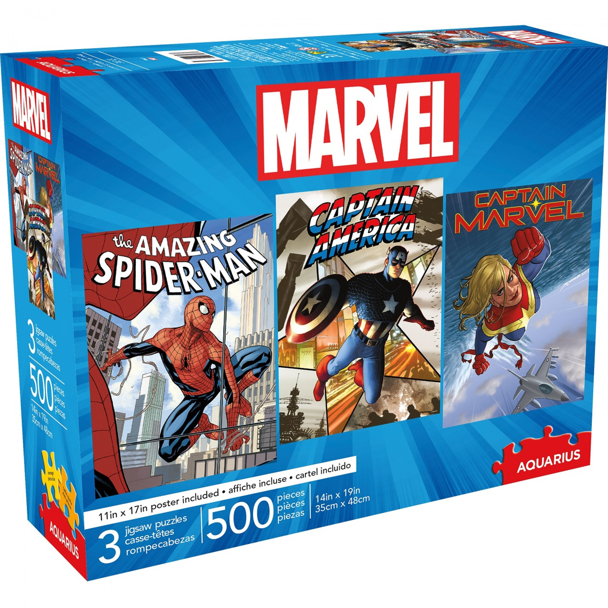 Marvel Heroes 3-Pack of 500 Piece Puzzle Set