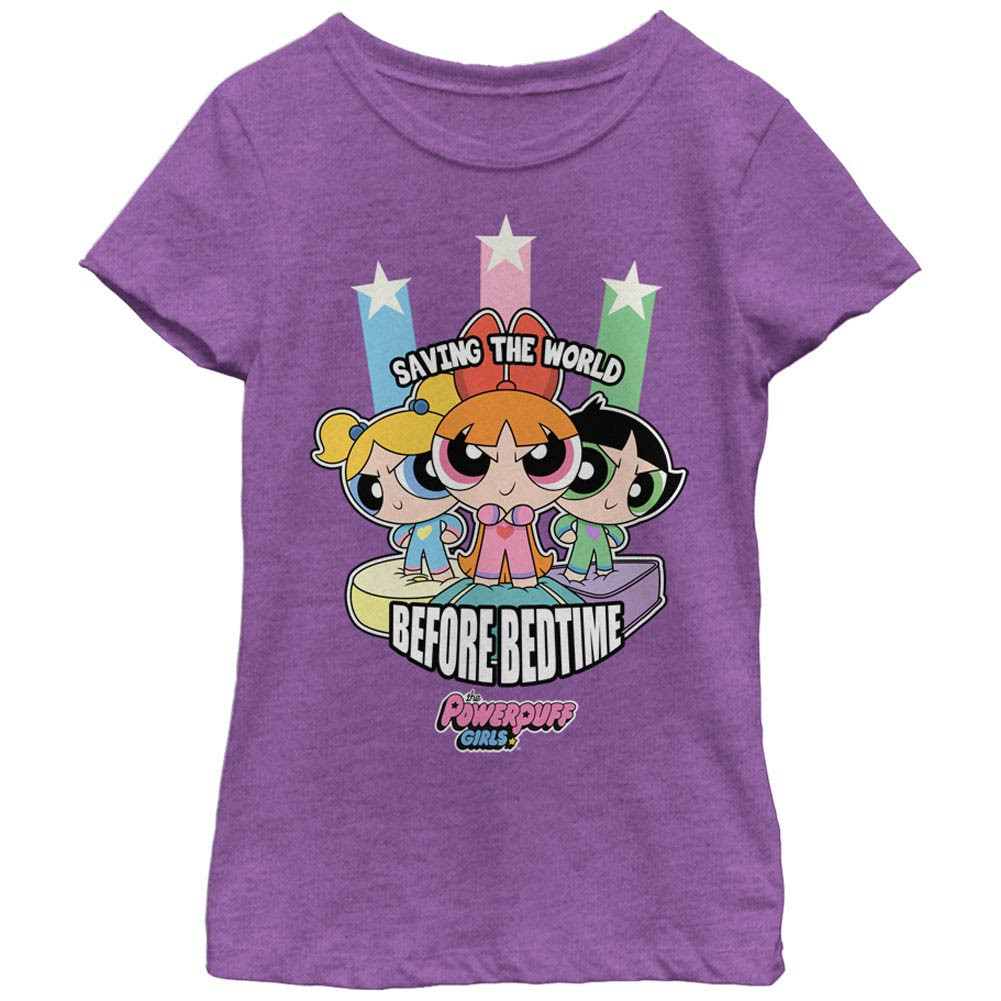 Power Puff Girls Saving the World Before Bedtime Purple Youth Girls T-Shirt