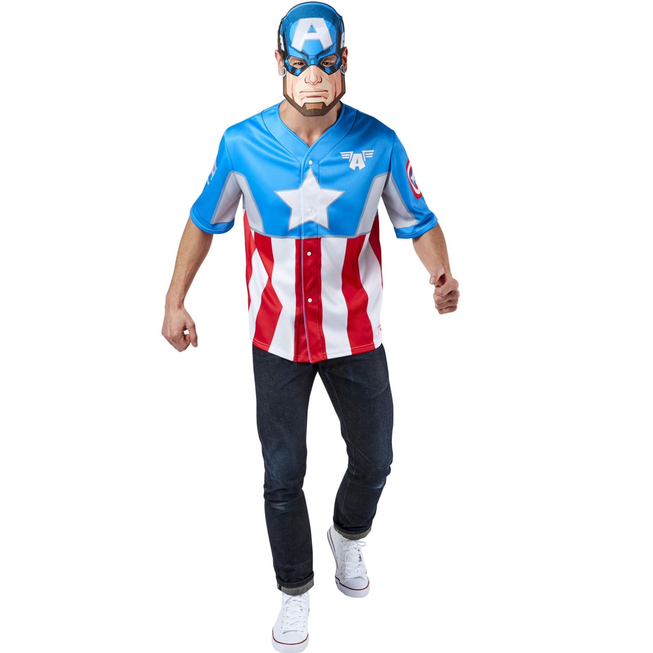 Captain America Men's Baseball Jersey Top and Mask