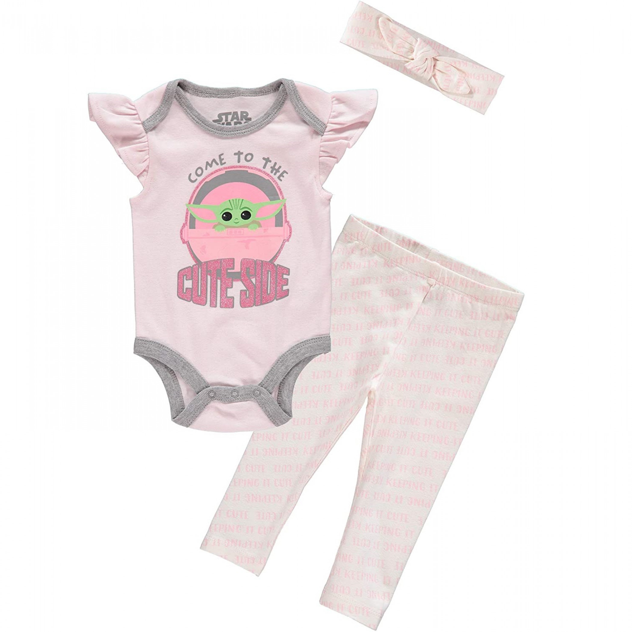 Star Wars The Mandalorian Child Girl 3-Piece Bodysuit Set With Headband