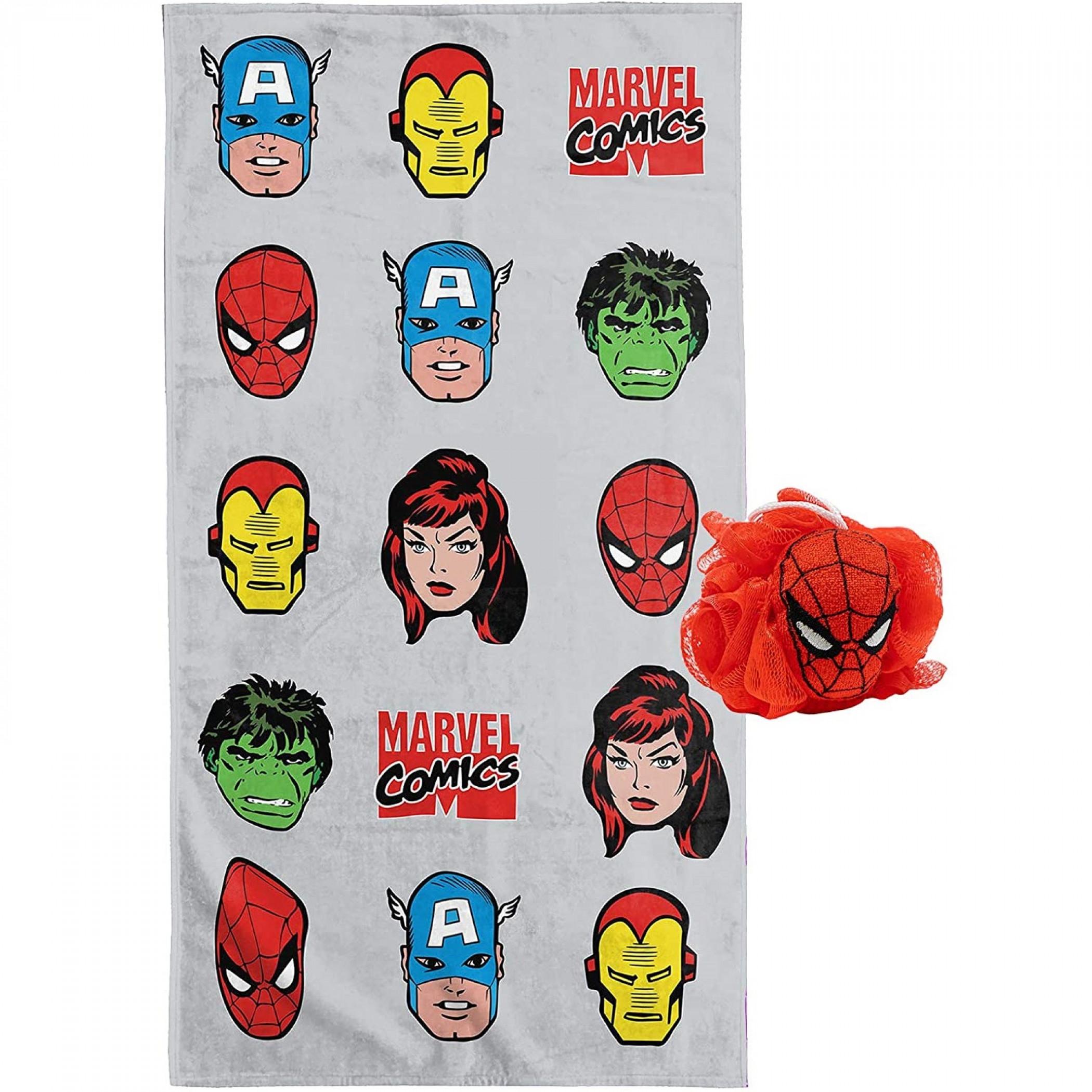 Marvel Comics Blast 2pc Bath Towel and 3D Loofah Set