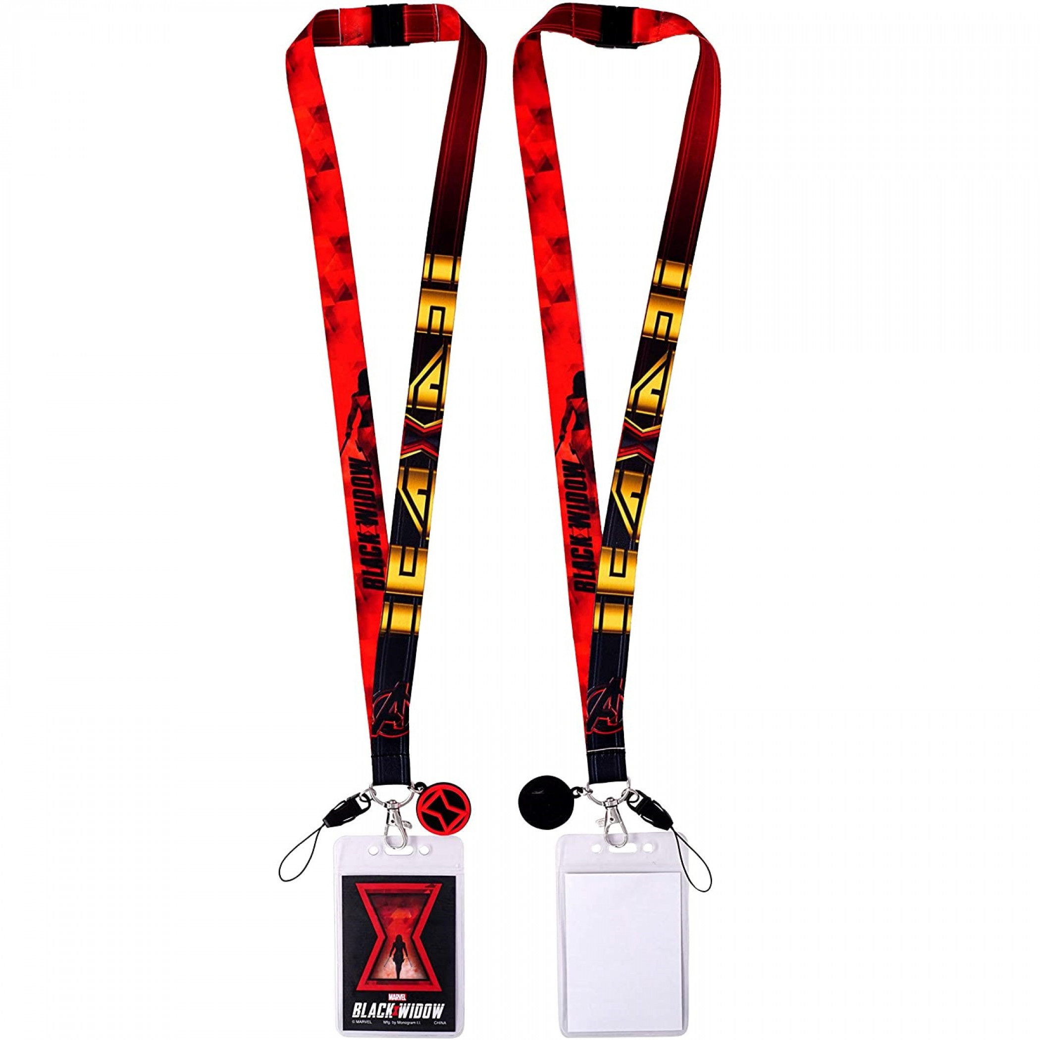 Black Widow Movie Lanyard with Card Holder and Charm