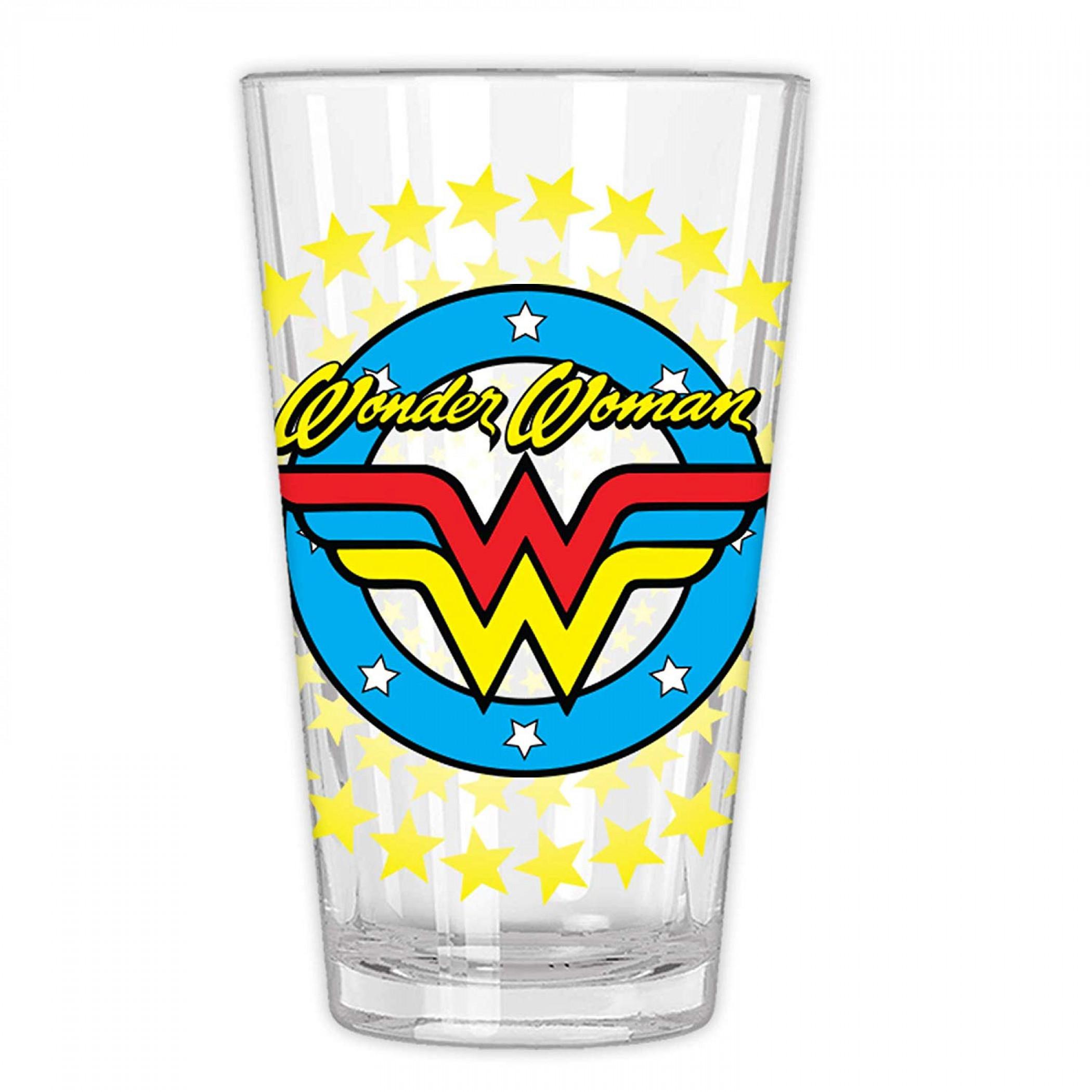 Wonder Woman Classic Comic Star Burst Pint Glass