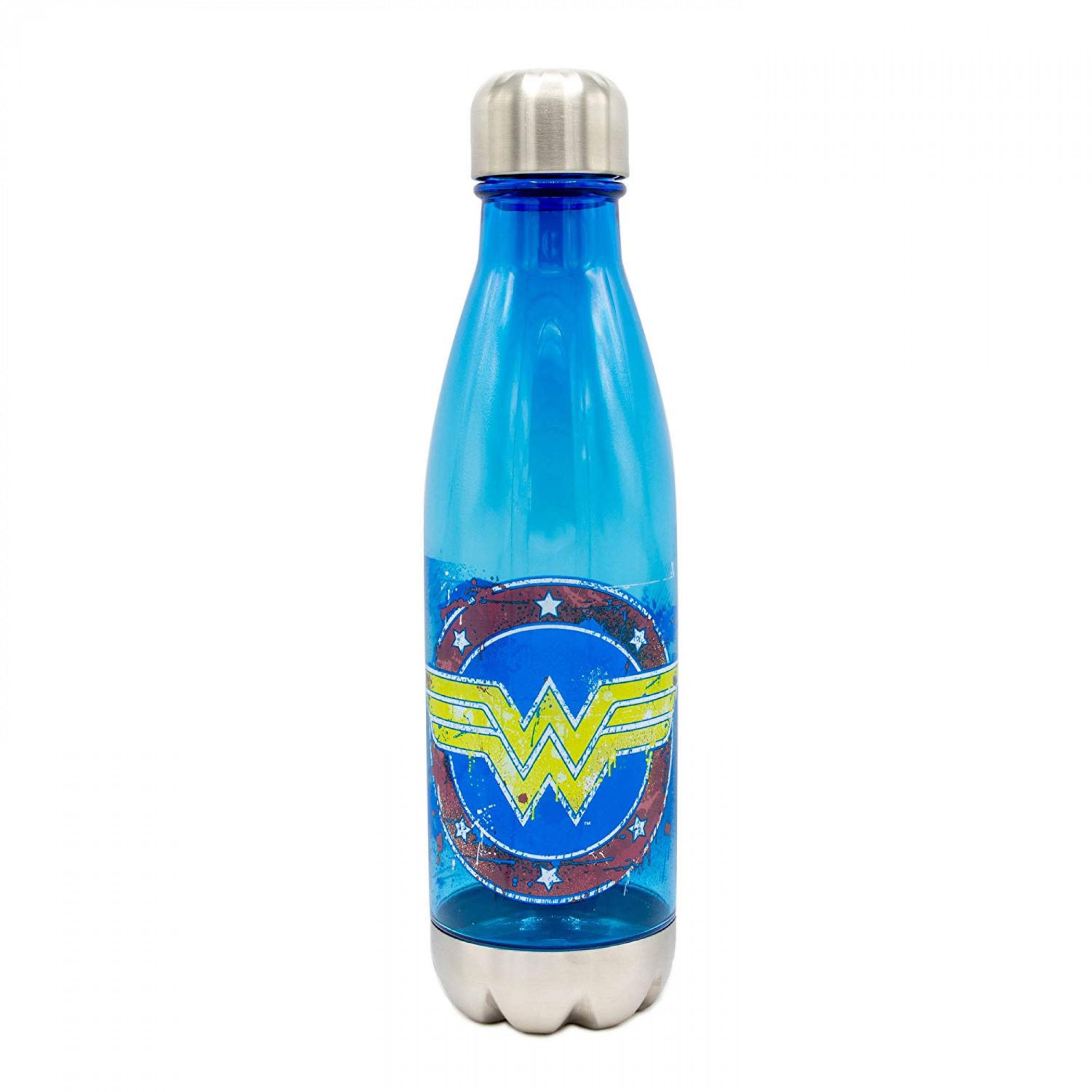 Wonder Woman Splatter Paint Logo Curved Water Bottle
