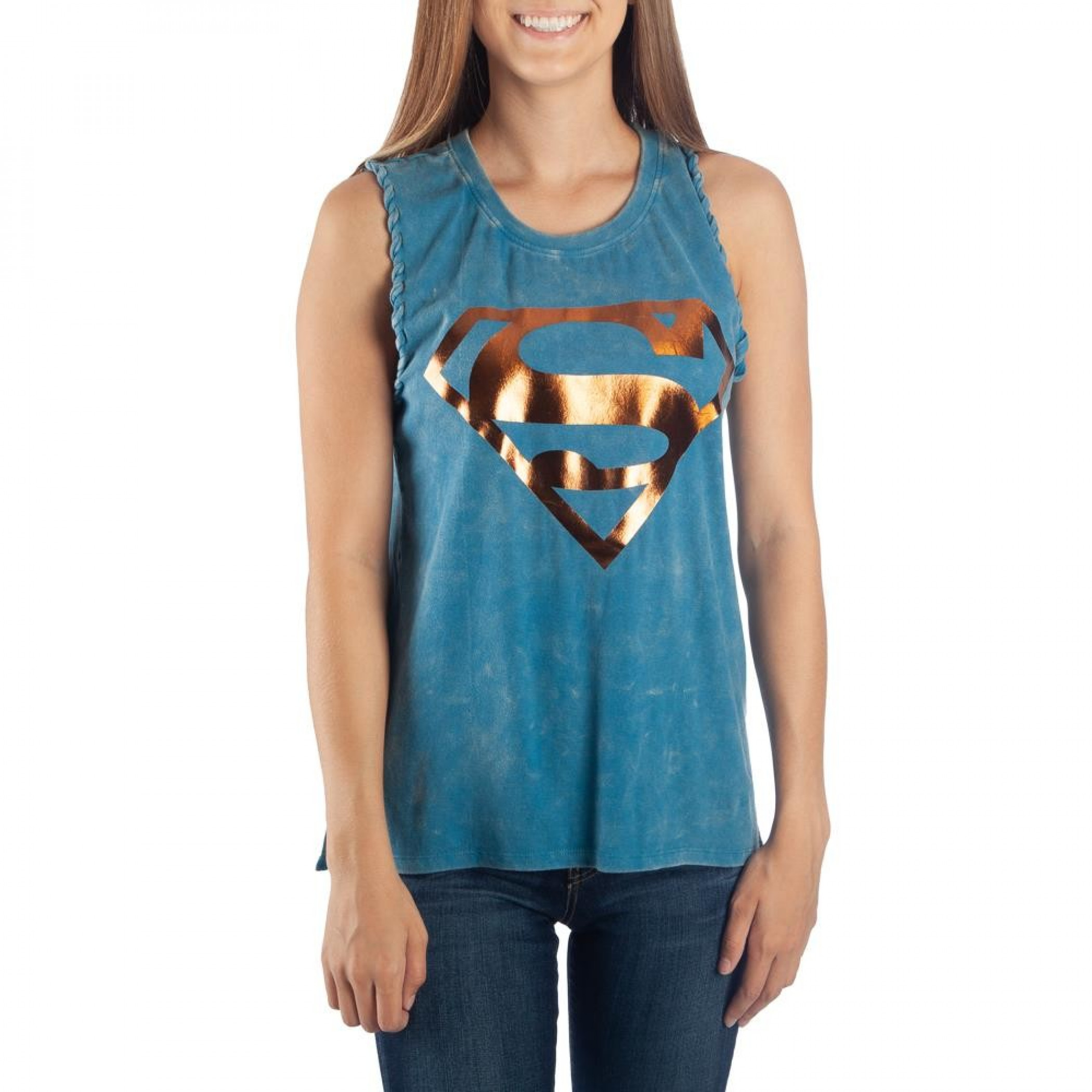 Supergirl Mineral Wash Braided Women's Blue Tank Top