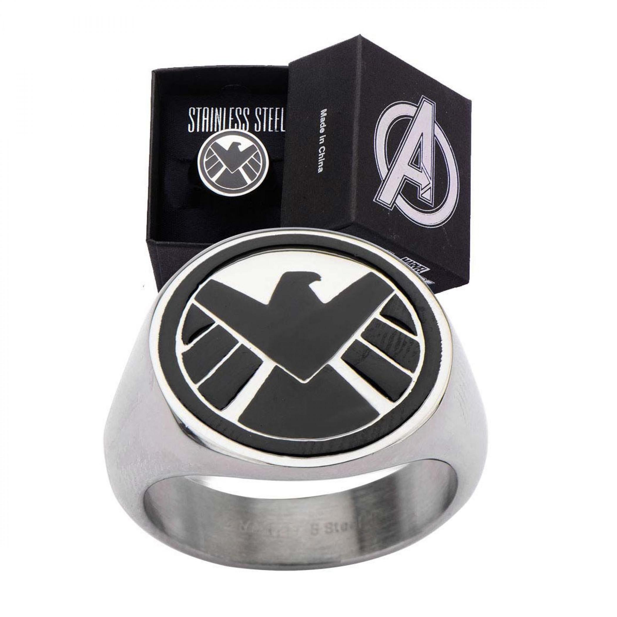 S.H.I.E.L.D Stainless Steel Black Logo Ring