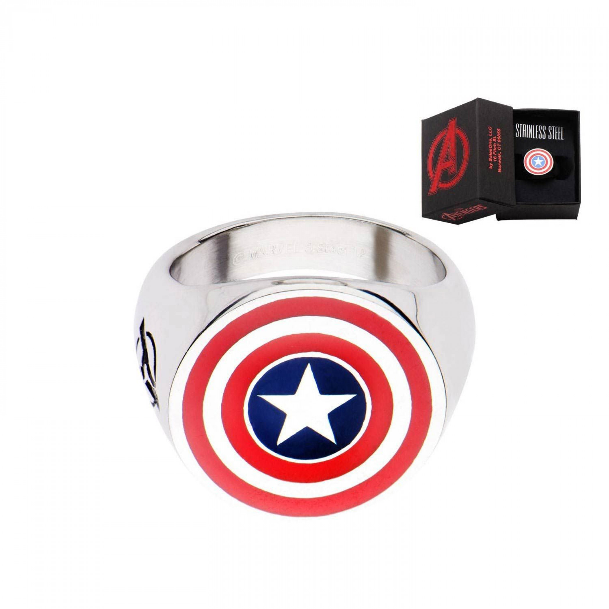 Captain America Logo Stainless Steel Silver Ring