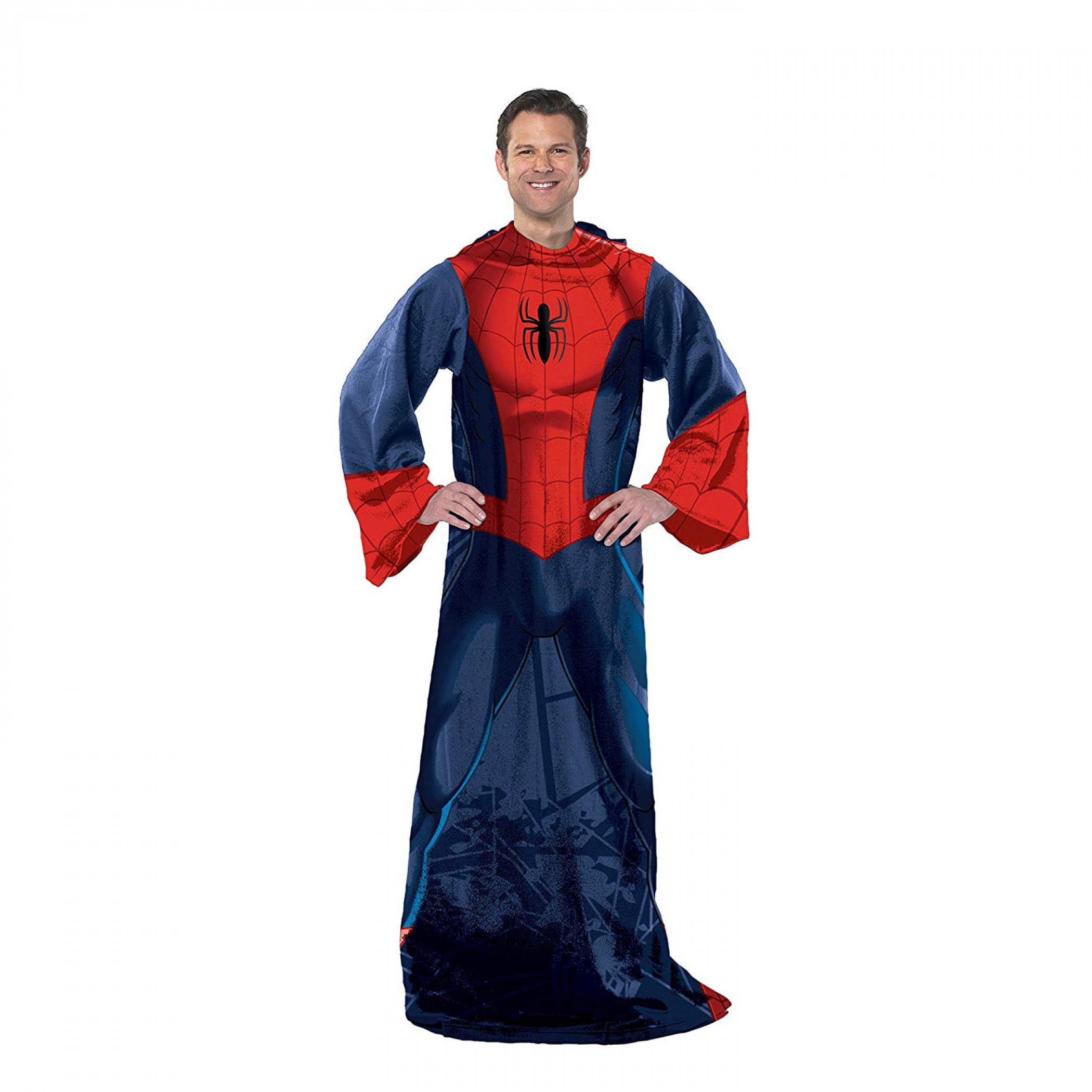 Spider-Man Costume Adult Blanket With Sleeves