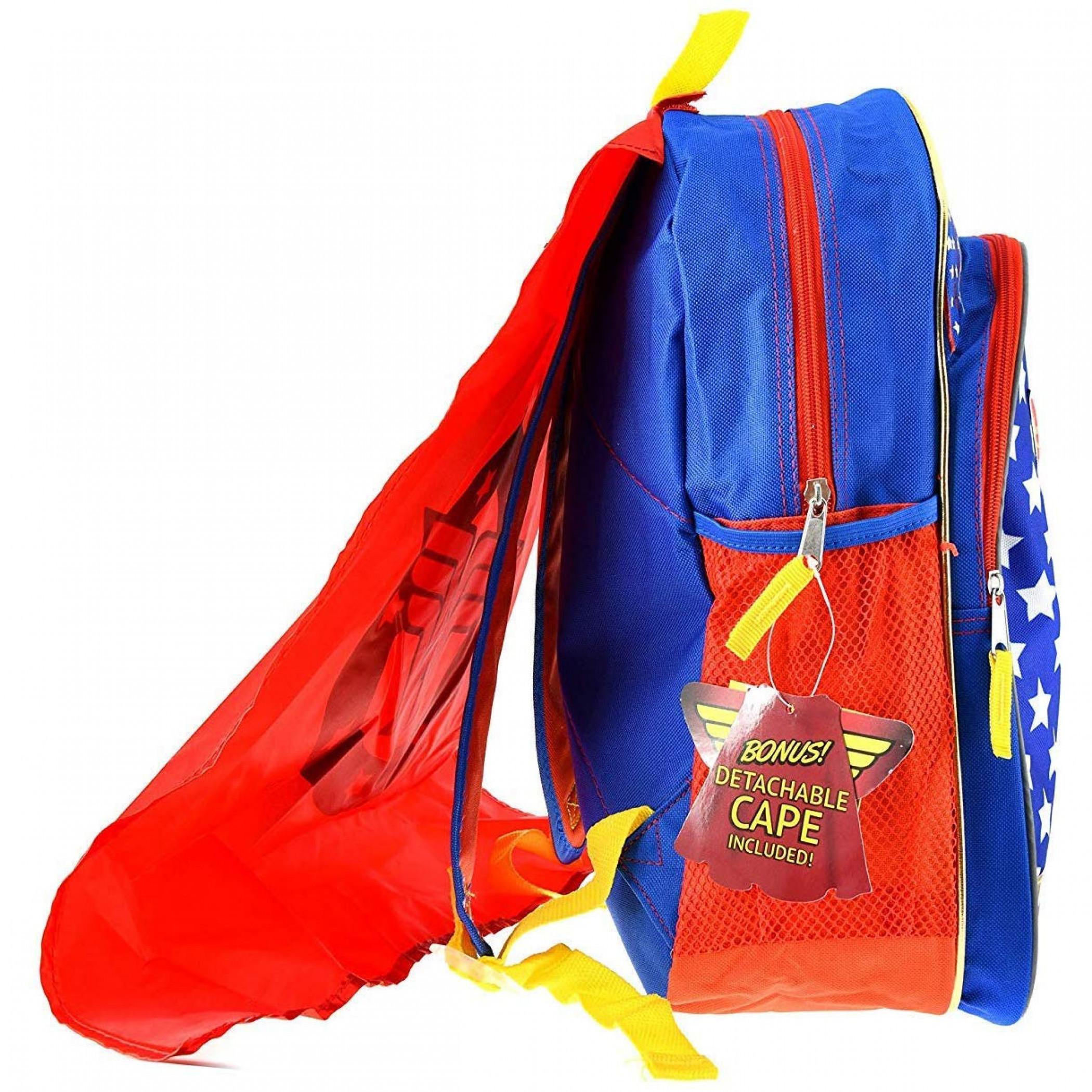 Wonder Woman Girls Backpack w/Detachable Cape