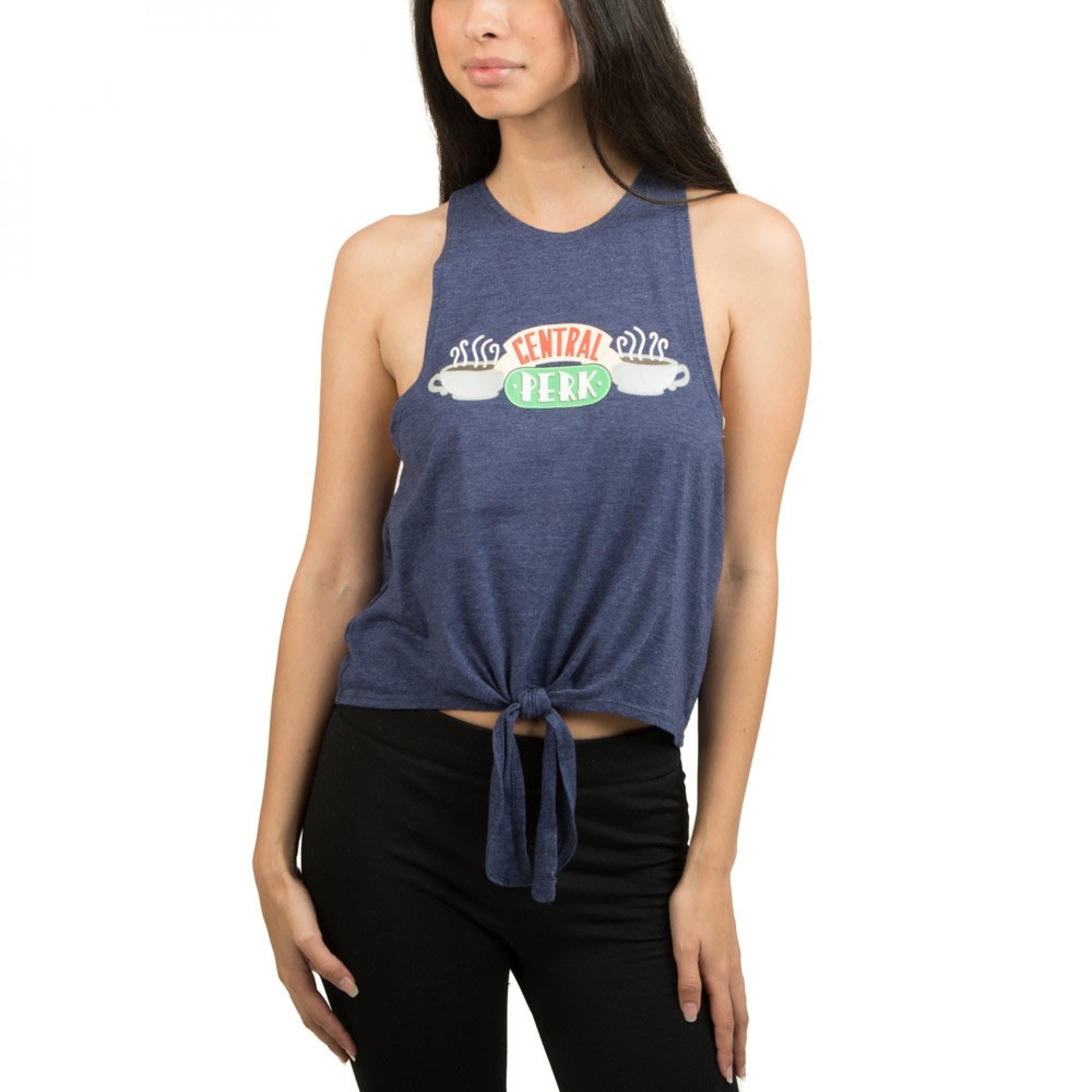 Friends Central Perk Women's Front Tie Grey Tank Top