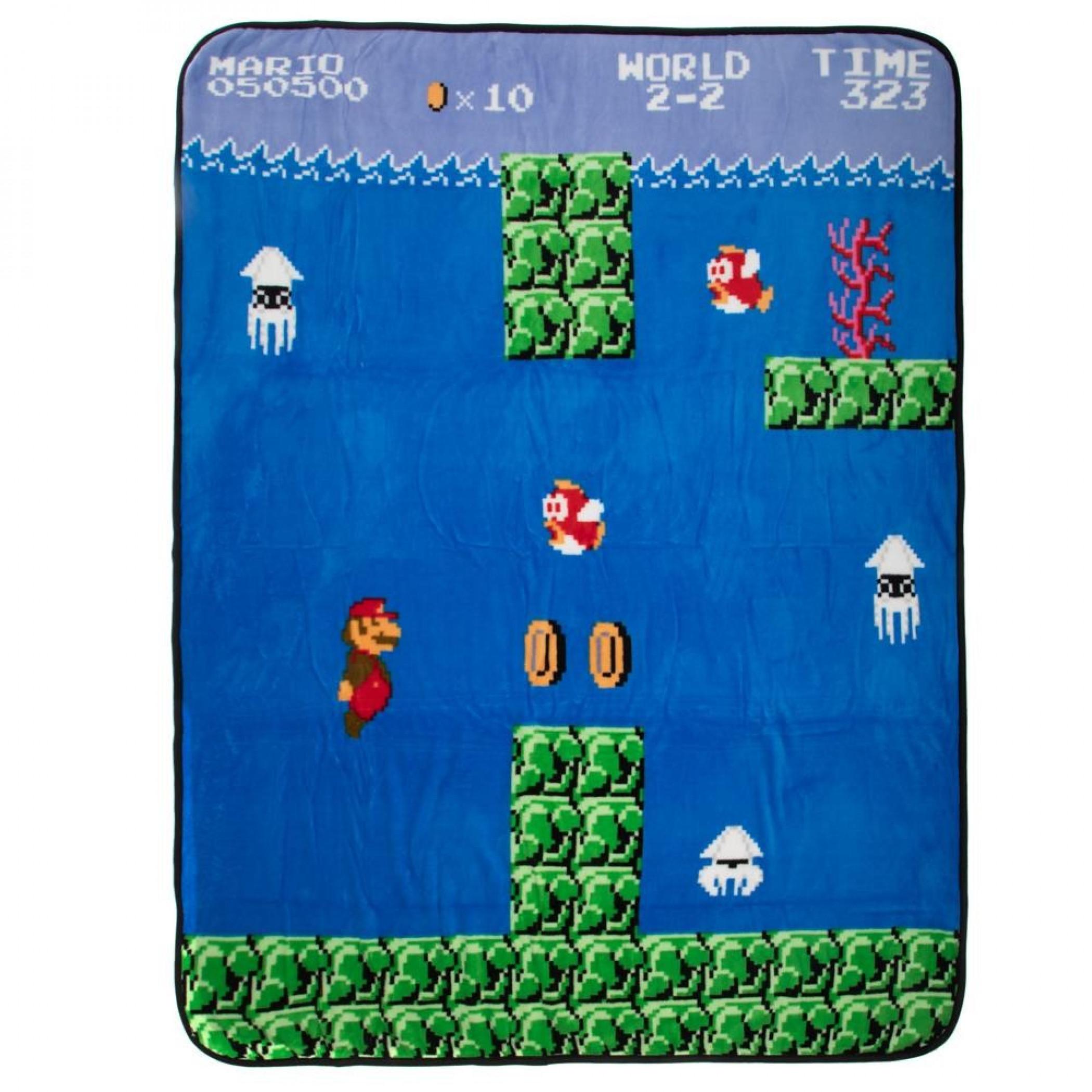 Super Mario Water World 2-2 Fleece Blanket