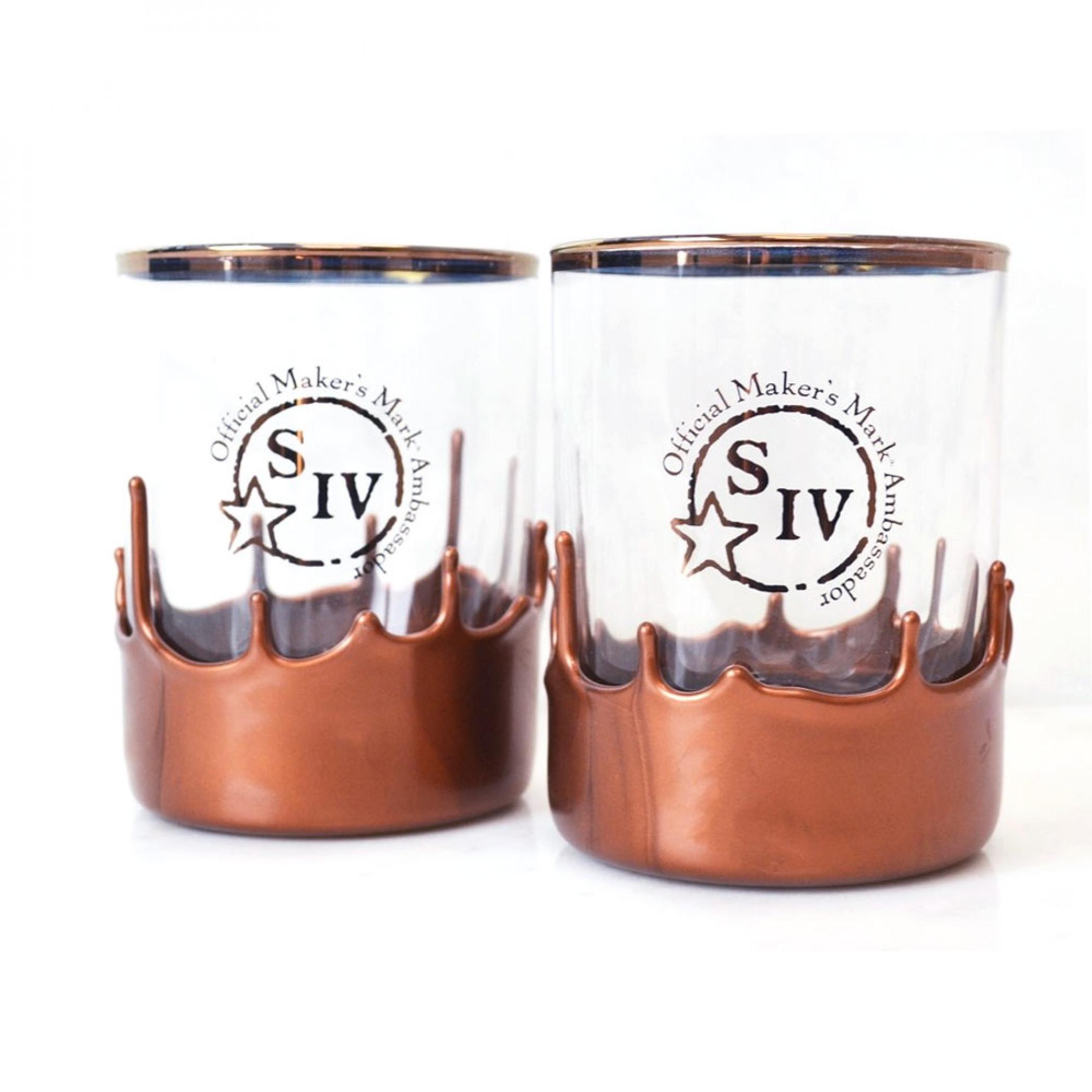 Makers Mark Ambassadors Copper Dipped Glasses Set