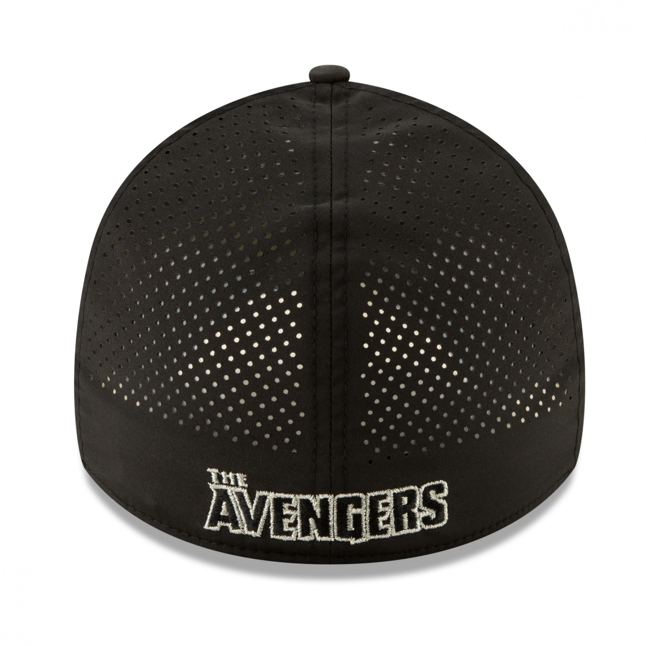 Avengers Silver Symbol Perforated for Play New Era 39Thirty Fitted Hat
