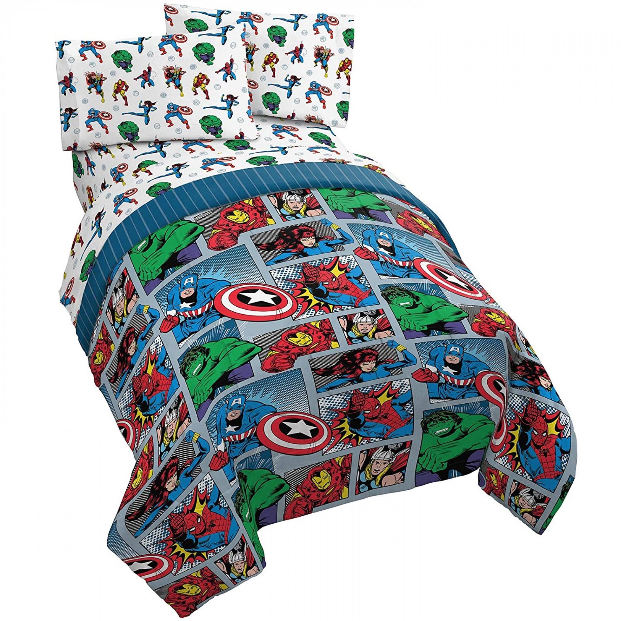 Marvel Avengers Fighting Team Full Size Bed Set