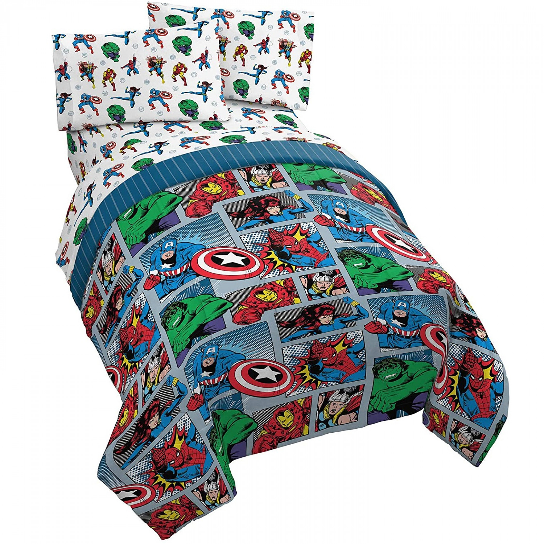 Marvel Avengers Fighting Team Twin Size Bed Set