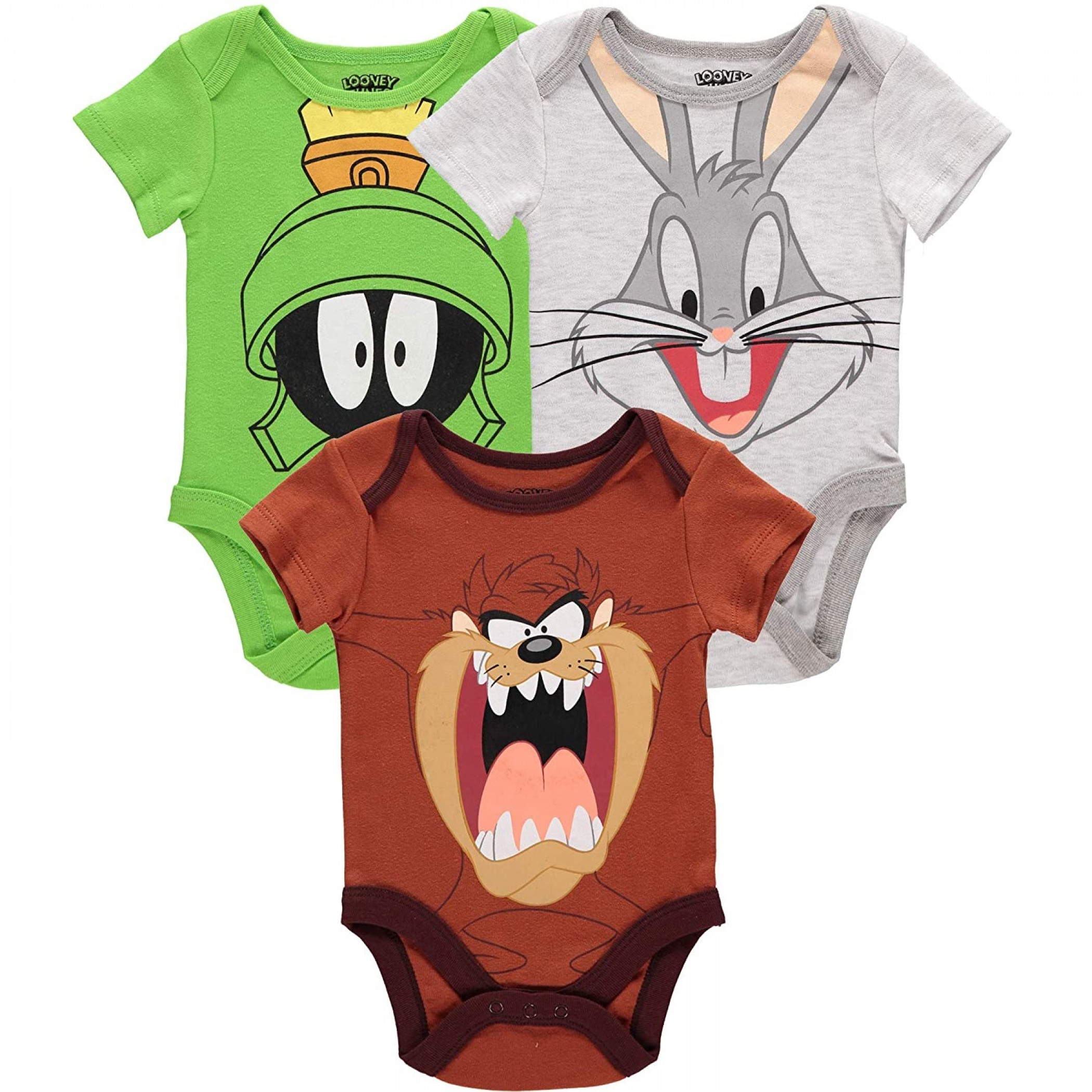 Looney Tune Character Face Snapsuit 3 Pack