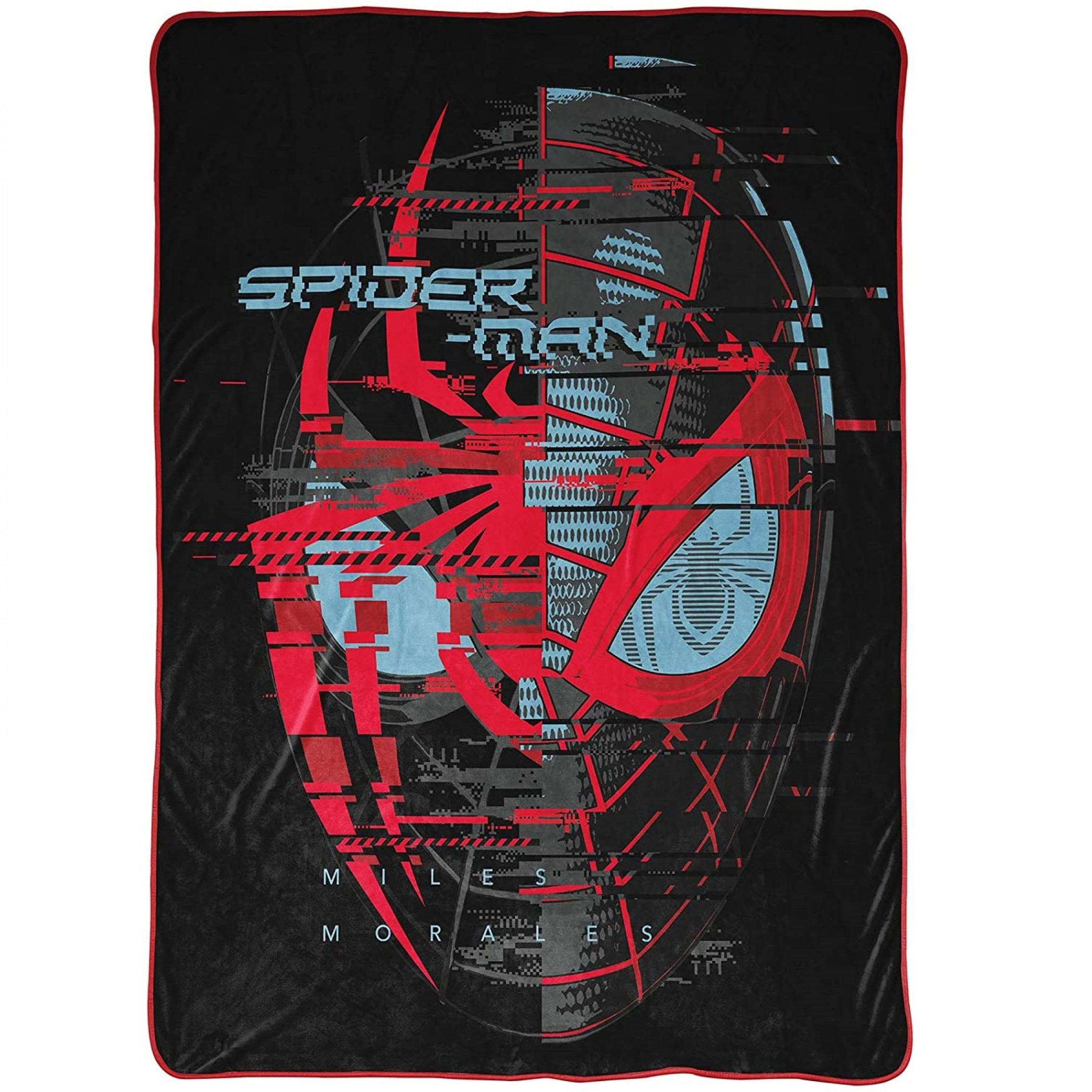 Spider-Man Miles Morales Symbol and Face 46 x 60 Throw Blanket