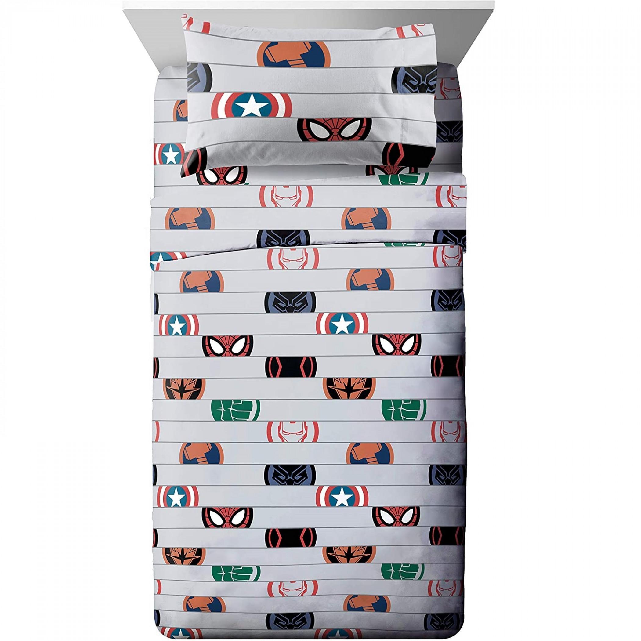 Marvel Avengers Emblem Twin Size Bed Sheet Set