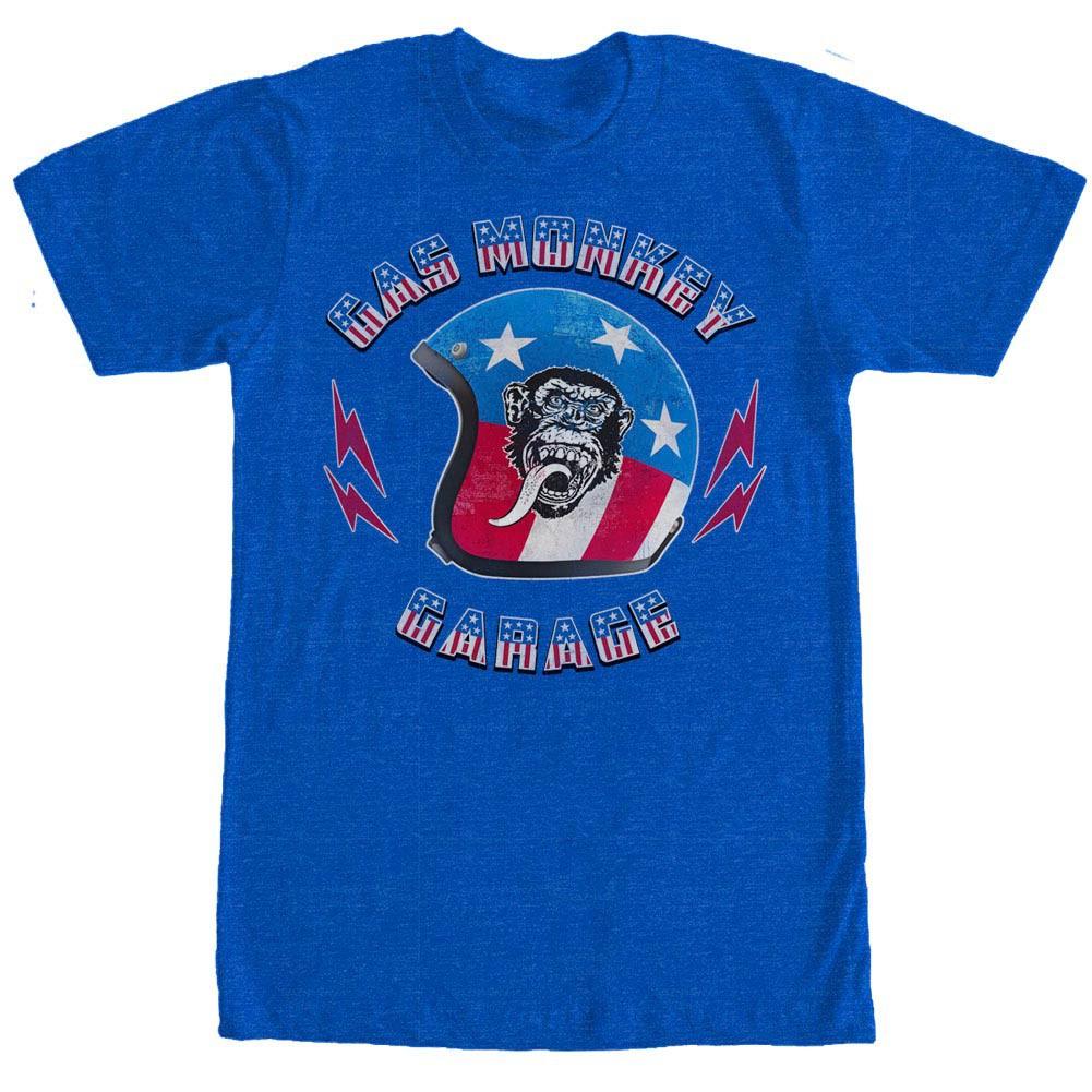 Gas Monkey Garage Stars And Stripes Helmet Blue T-Shirt