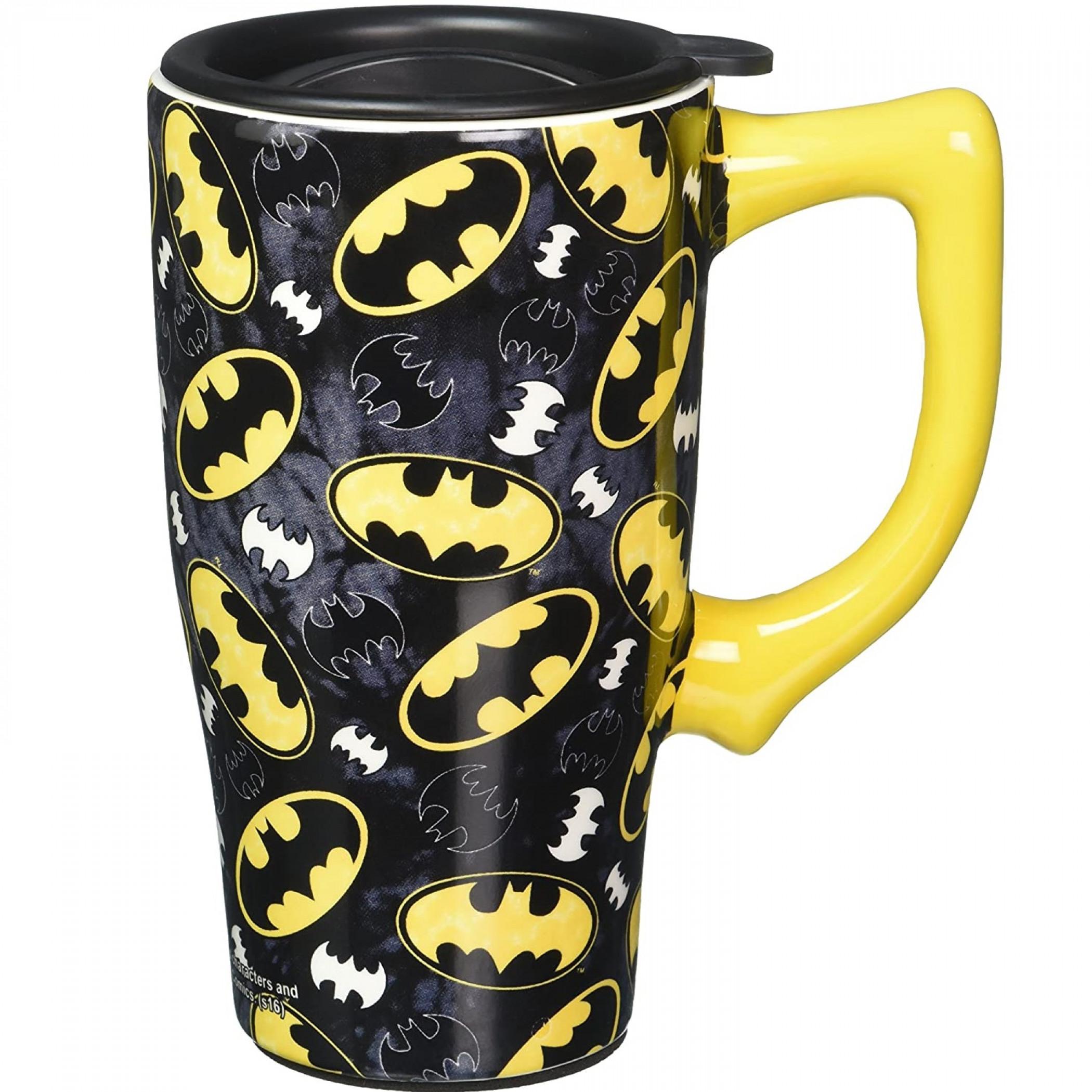 Batman Symbol and Logo All Over Print Travel Mug