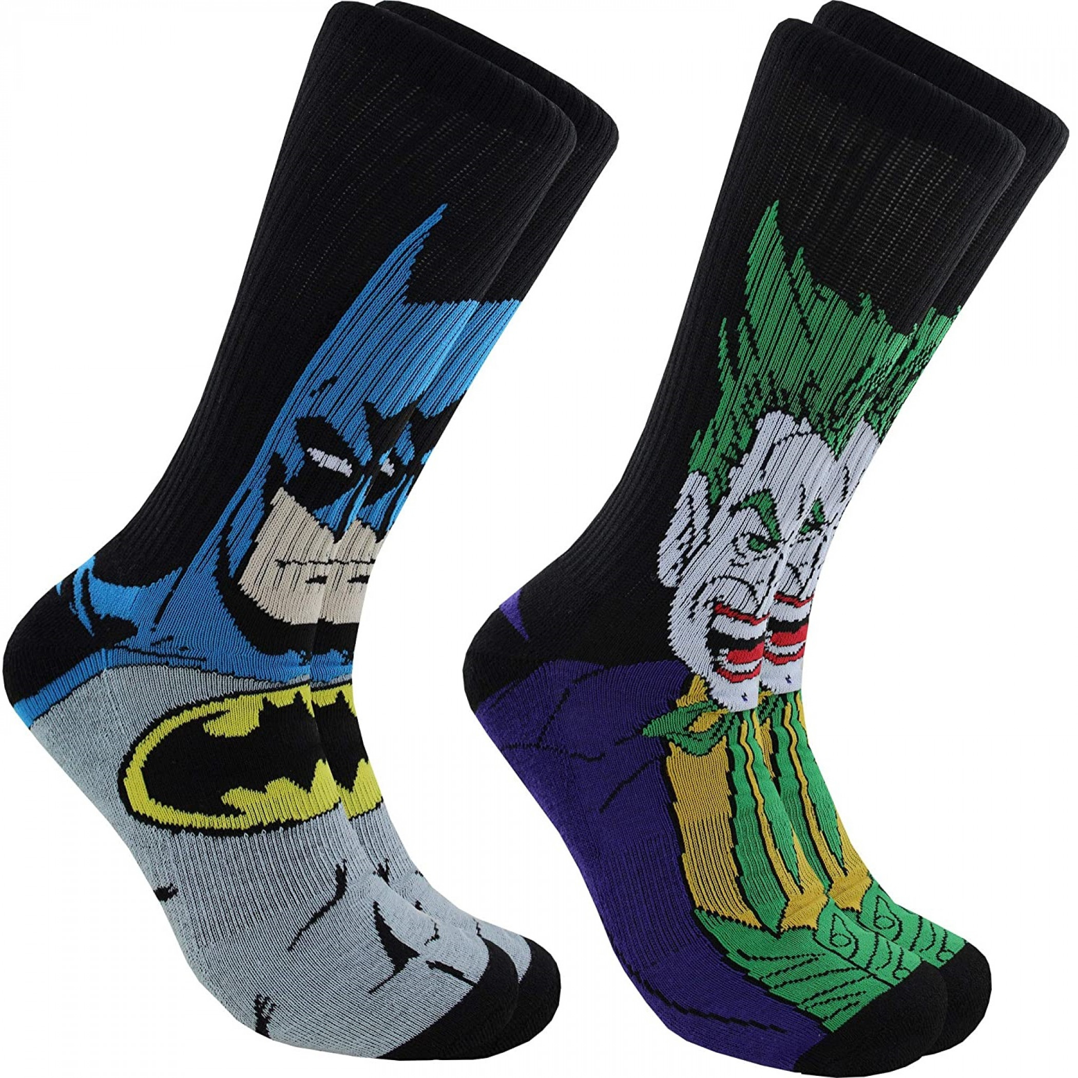 Batman And Joker Character Images 2-Pair Pack of Athletic Socks